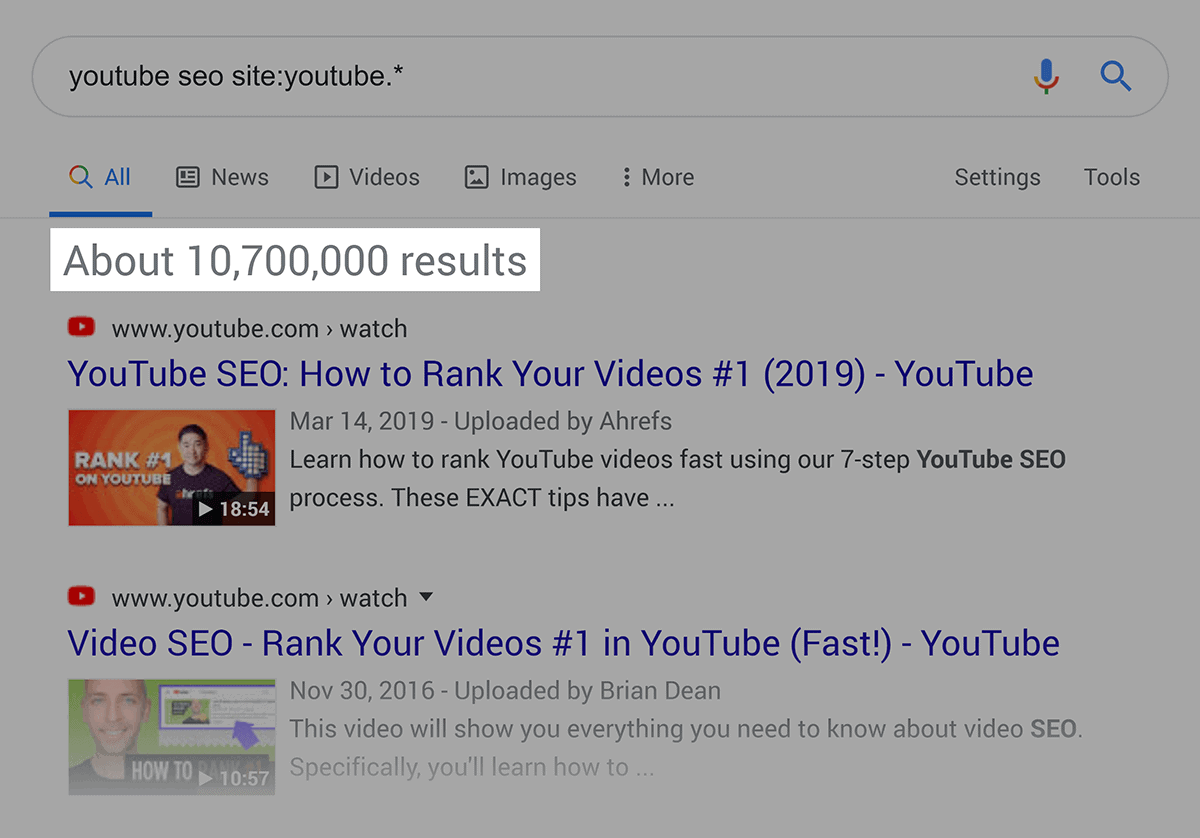 """Google search – """"youtube seo"""" – Video results"""