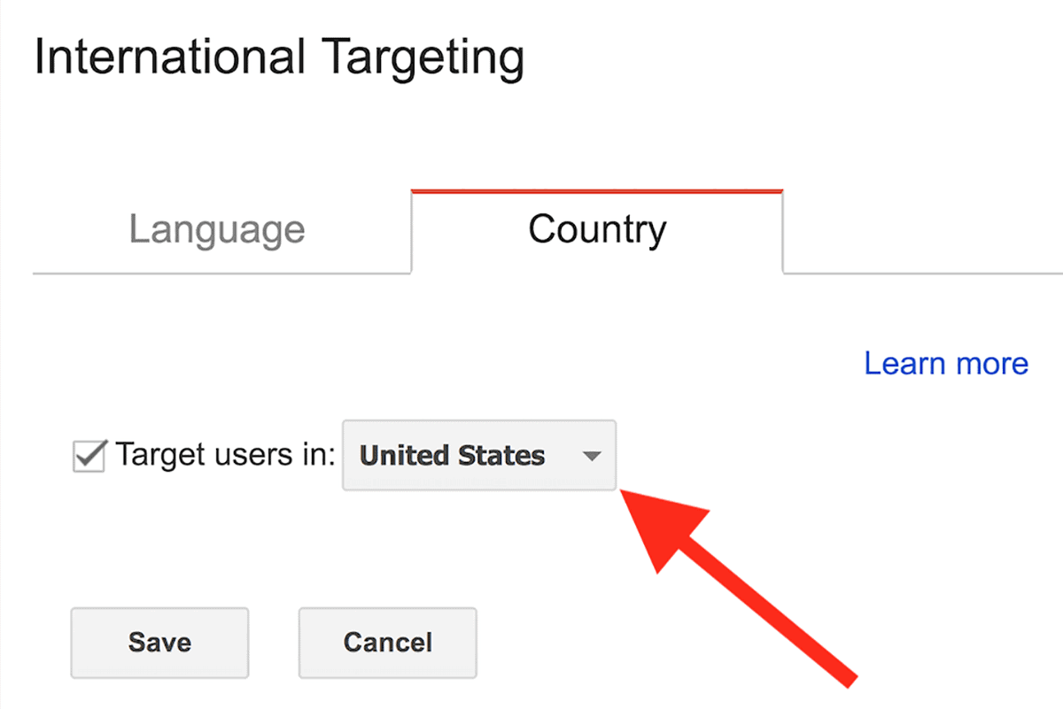 International Targeting – Select country