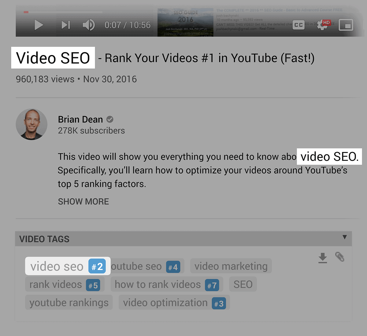 Keyword in video title, description and tags