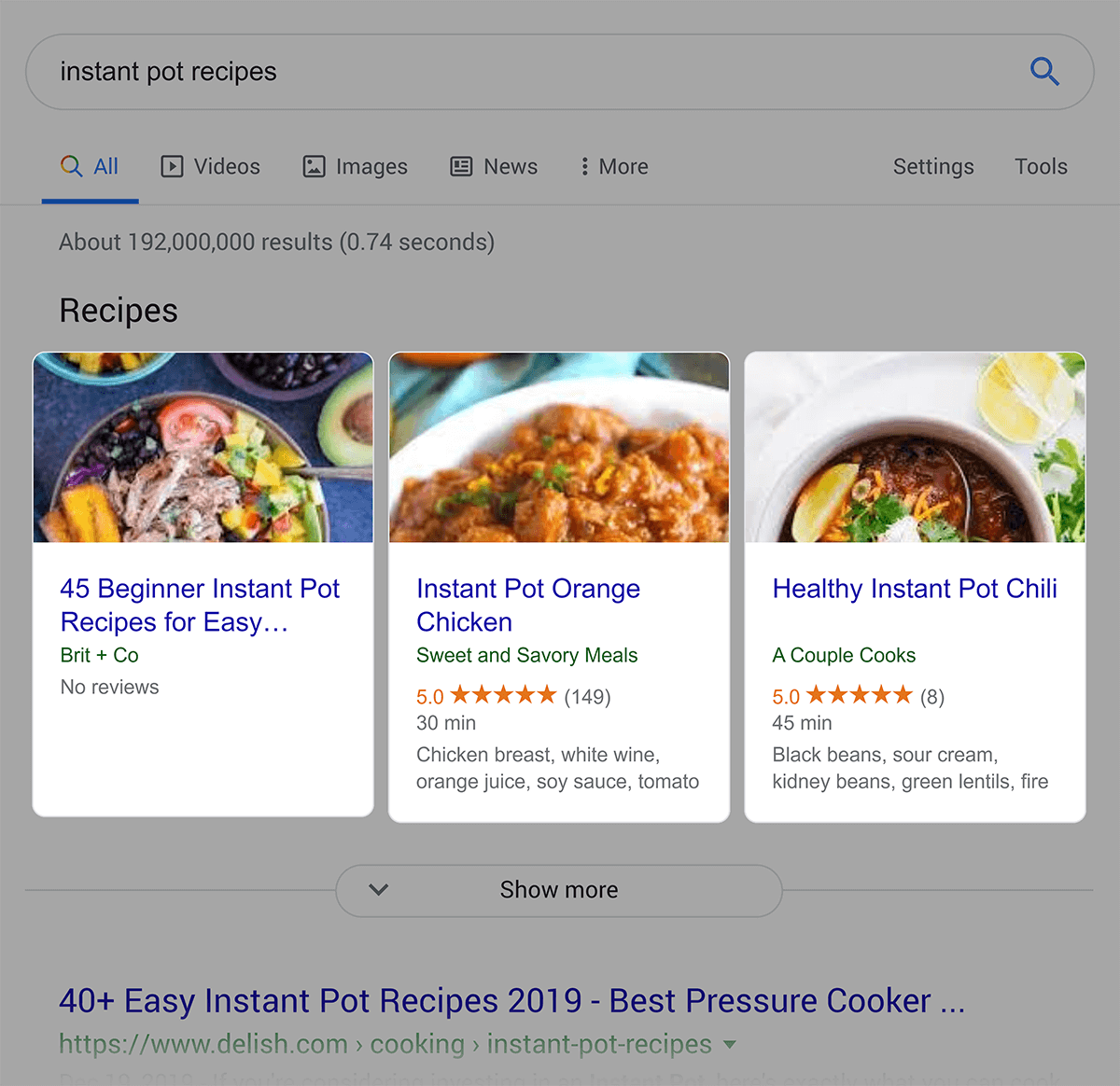 Review type snippet in SERP