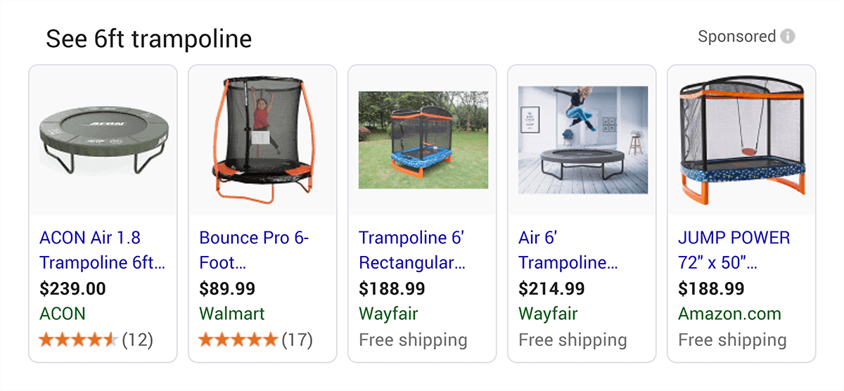 Shopping results in Google SERP