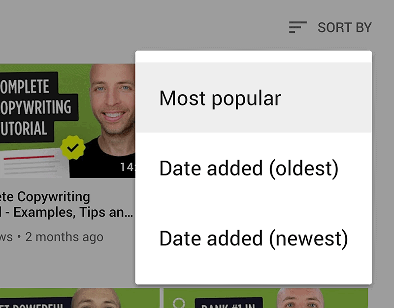 Sort by most popular