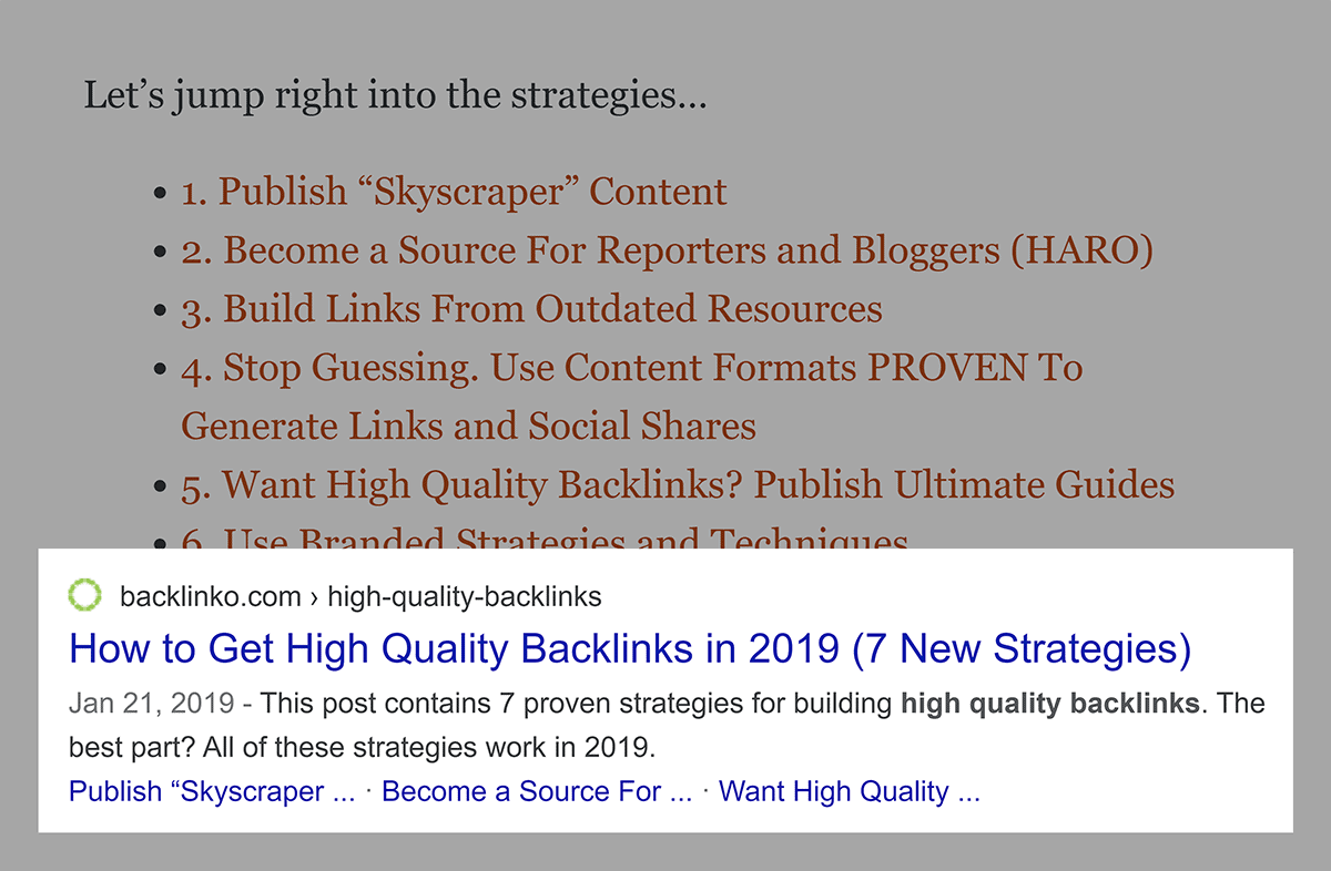Table of contents to Google Sitelinks
