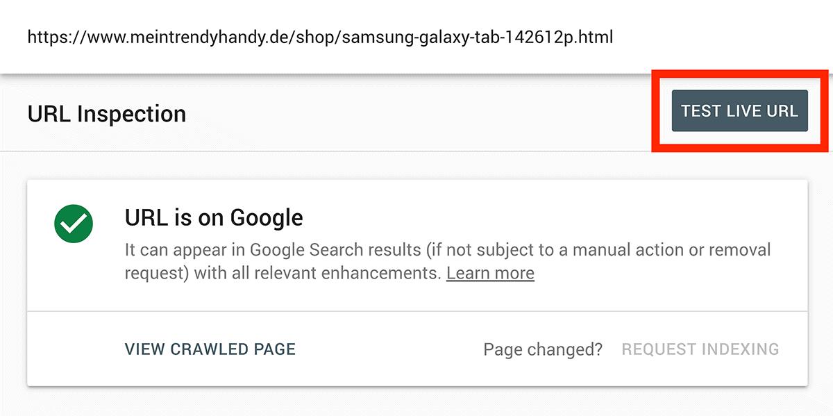 """Test Live URL"" button"