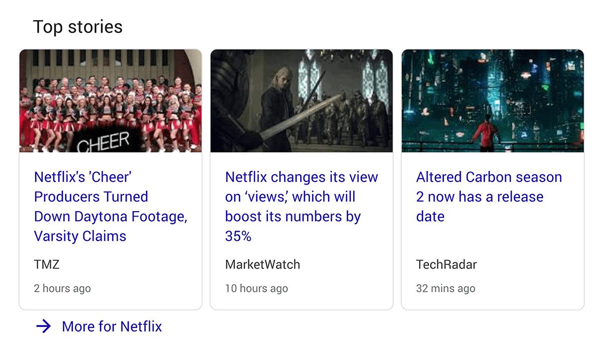 Top stories in Google SERP