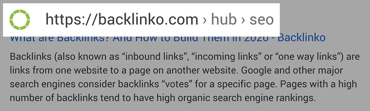URL above title in mobile SERP