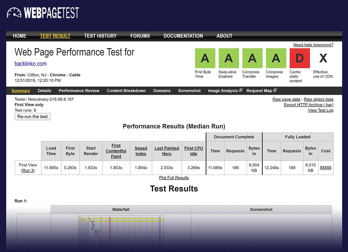 WebPageTest result – Backlinko