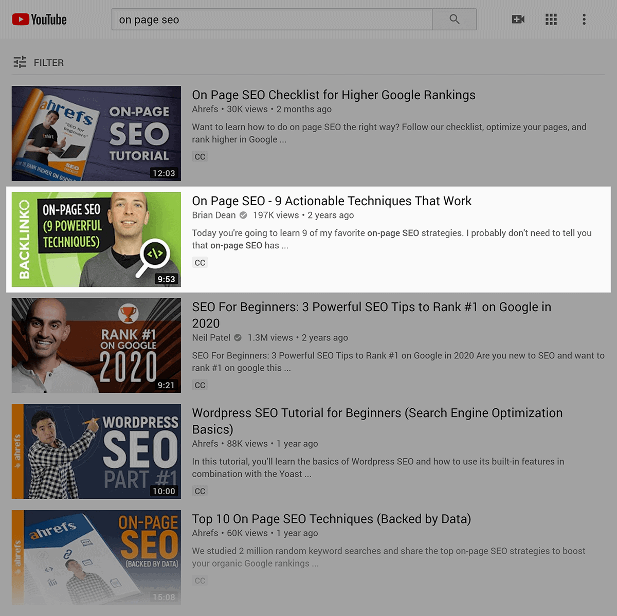 """YouTube SERP – """"on page seo"""""""