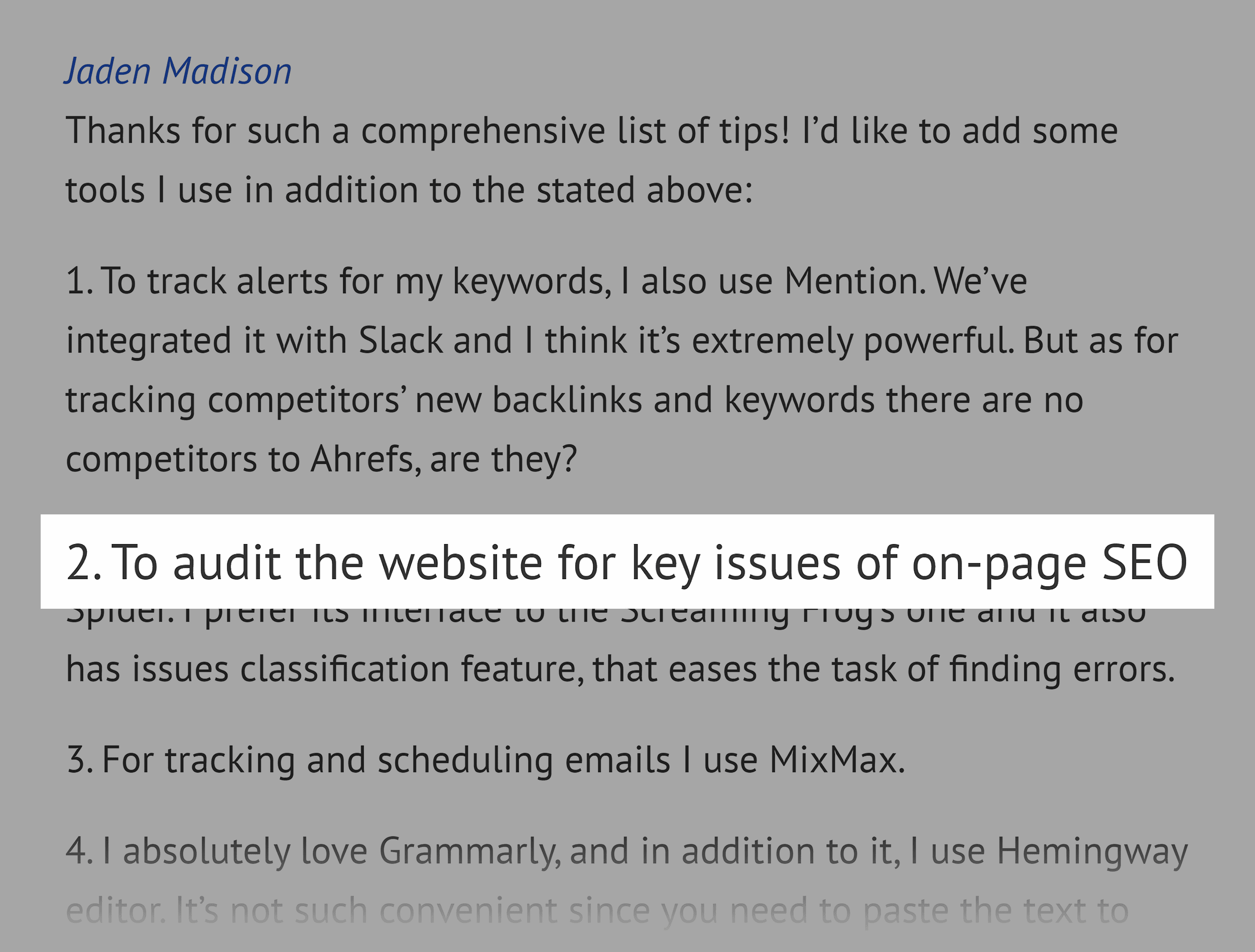 Ahrefs blog – SEO tips comment