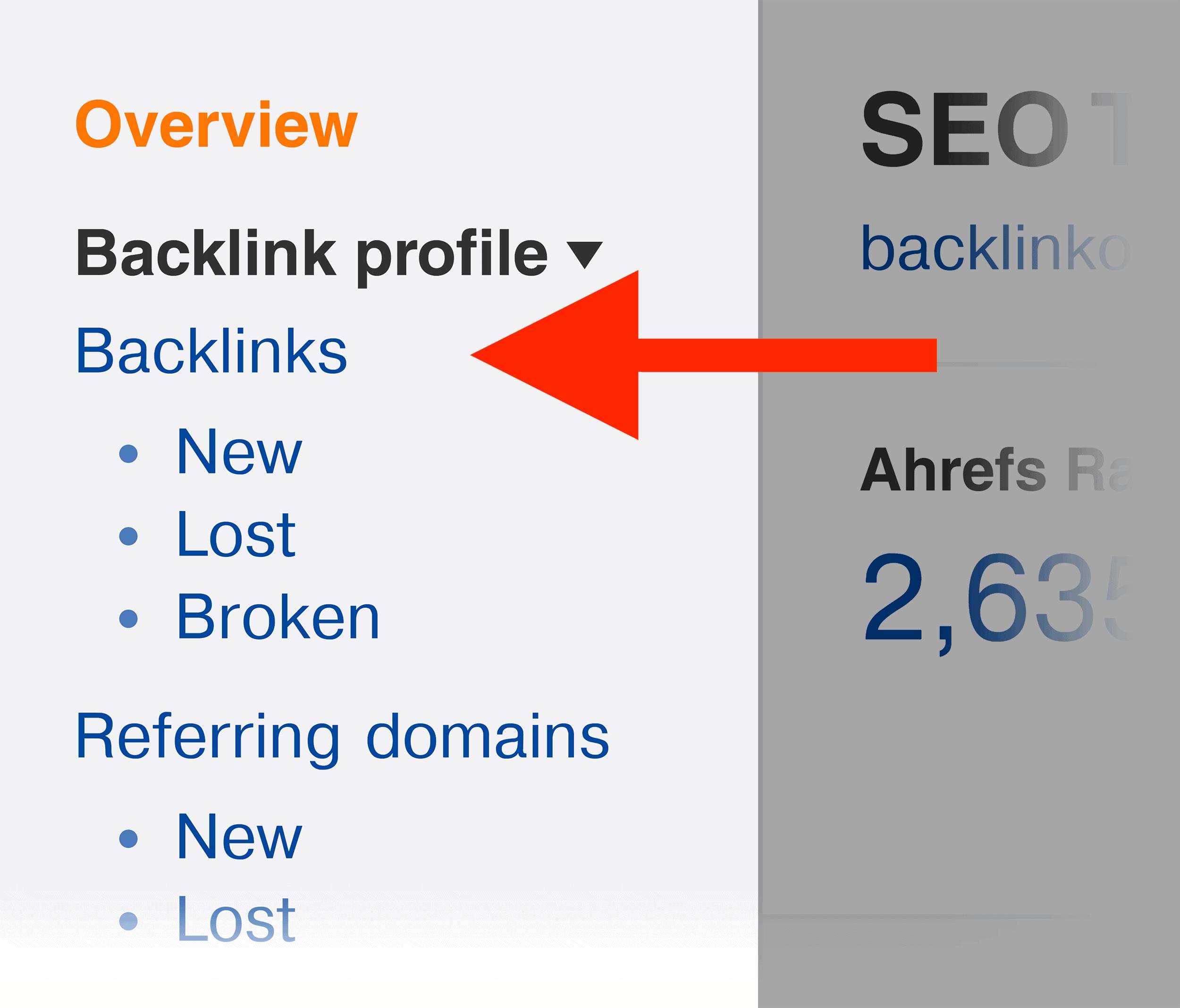 Ahrefs – Site explorer – Backlinks menu