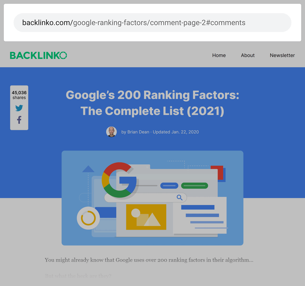 Backlinko – Comments pages have original post on them