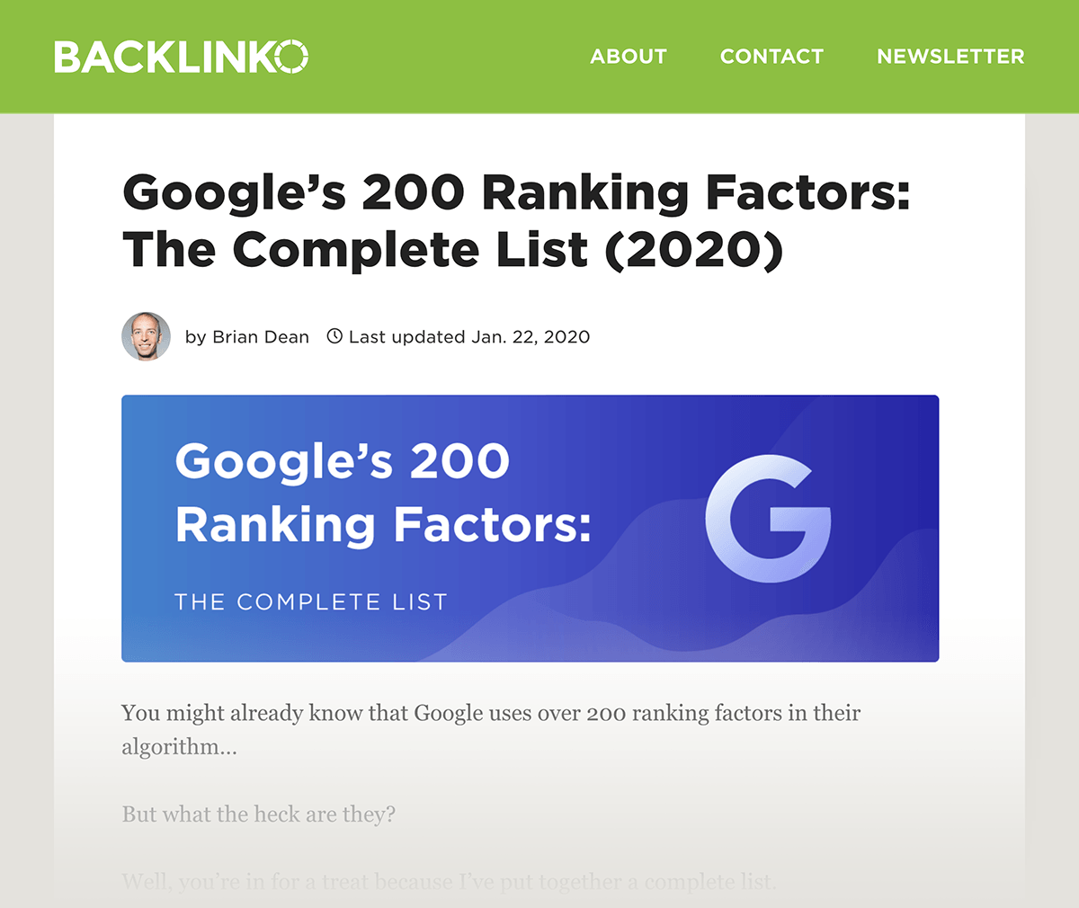 Backlinko – Google's 200 ranking factors