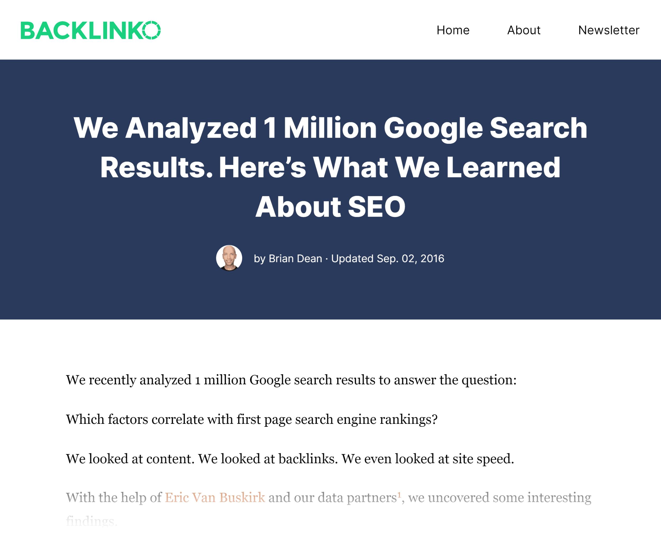 Backlinko – Search engine ranking study