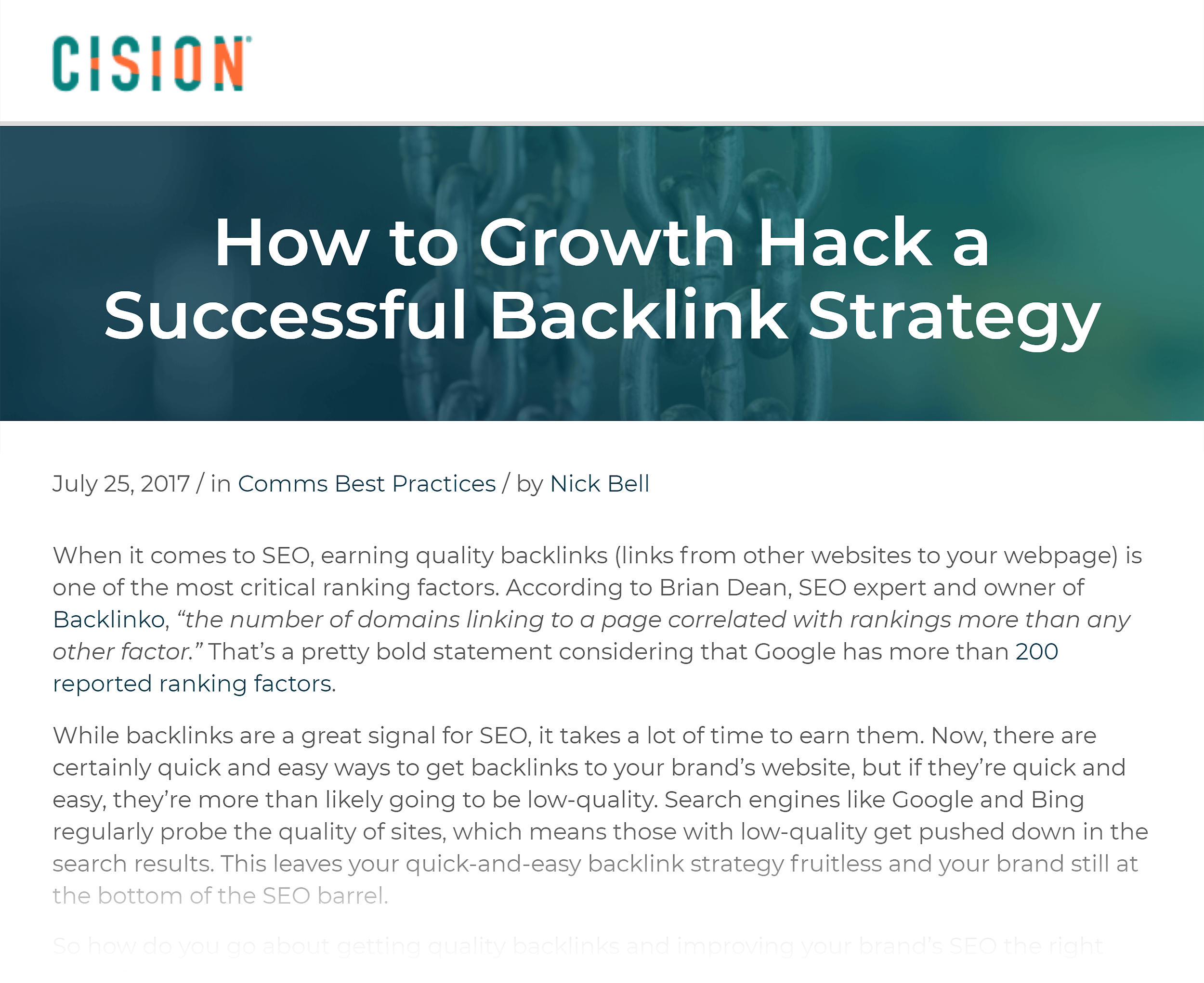 Cision growth hack article backlink