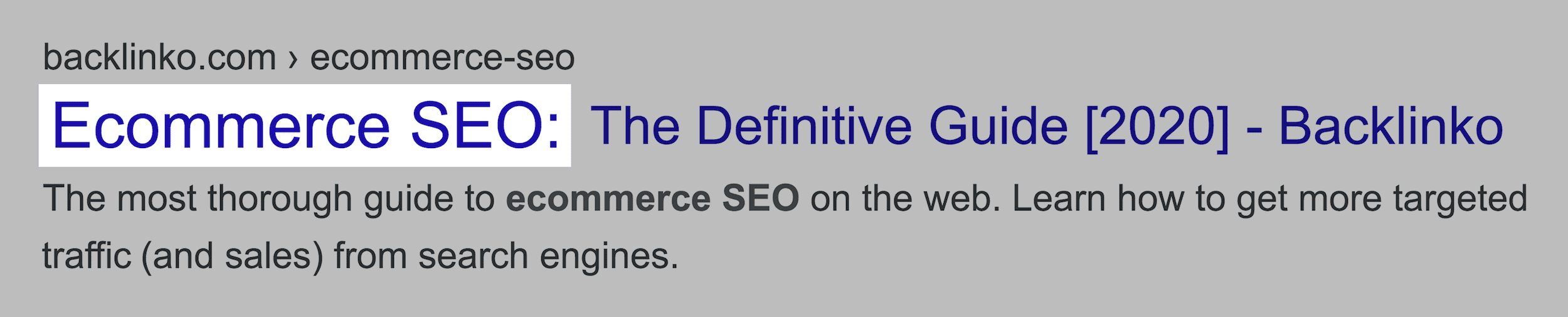 Ecommerce SEO post in SERPs
