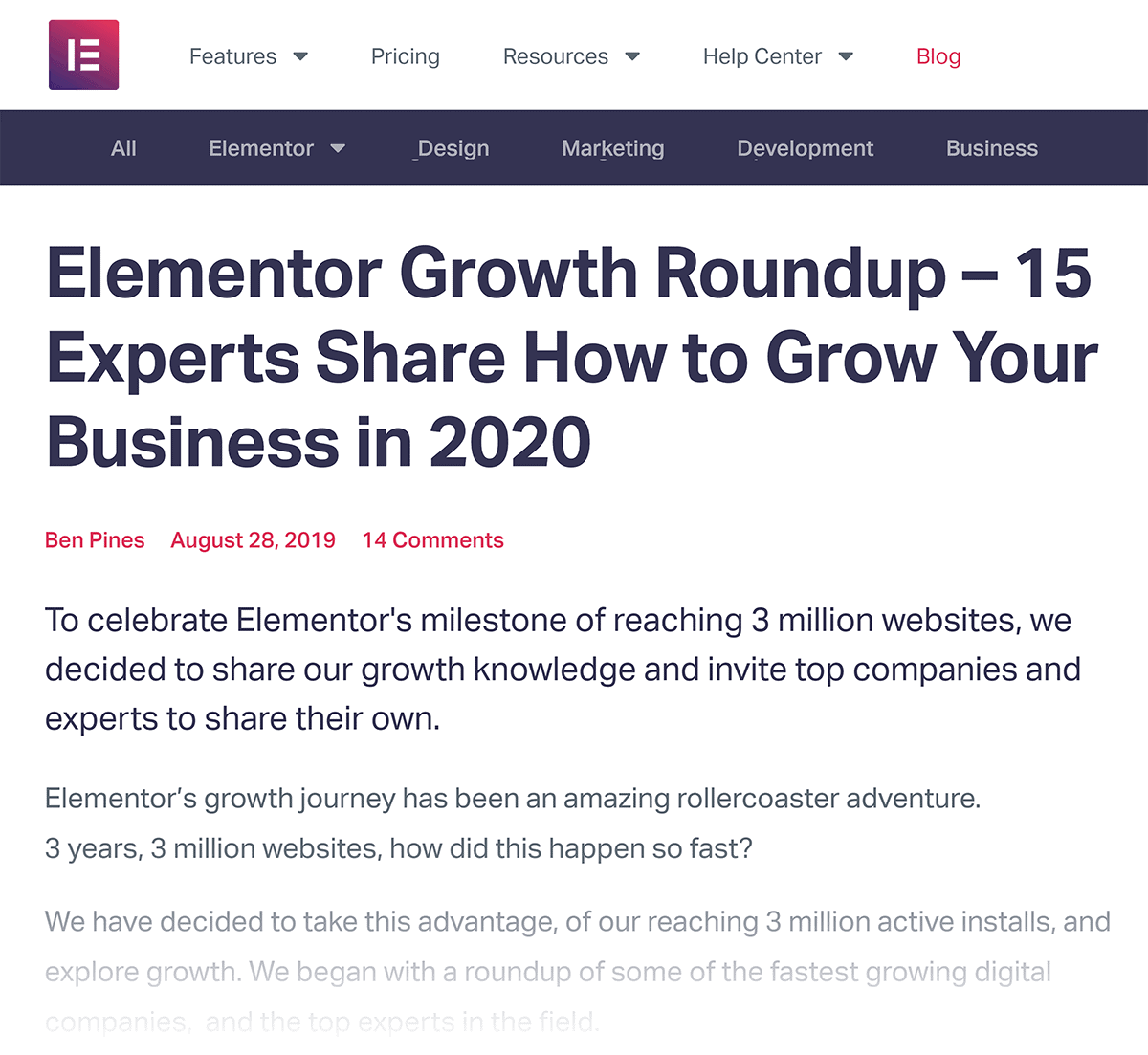 Elementor Growth Roundup