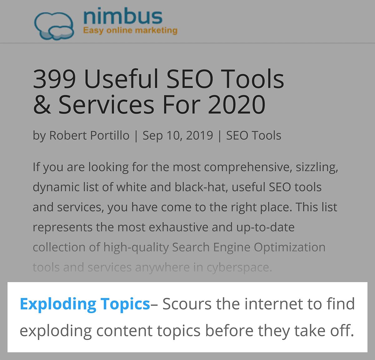 Exploding Topics – Nimbus backlink