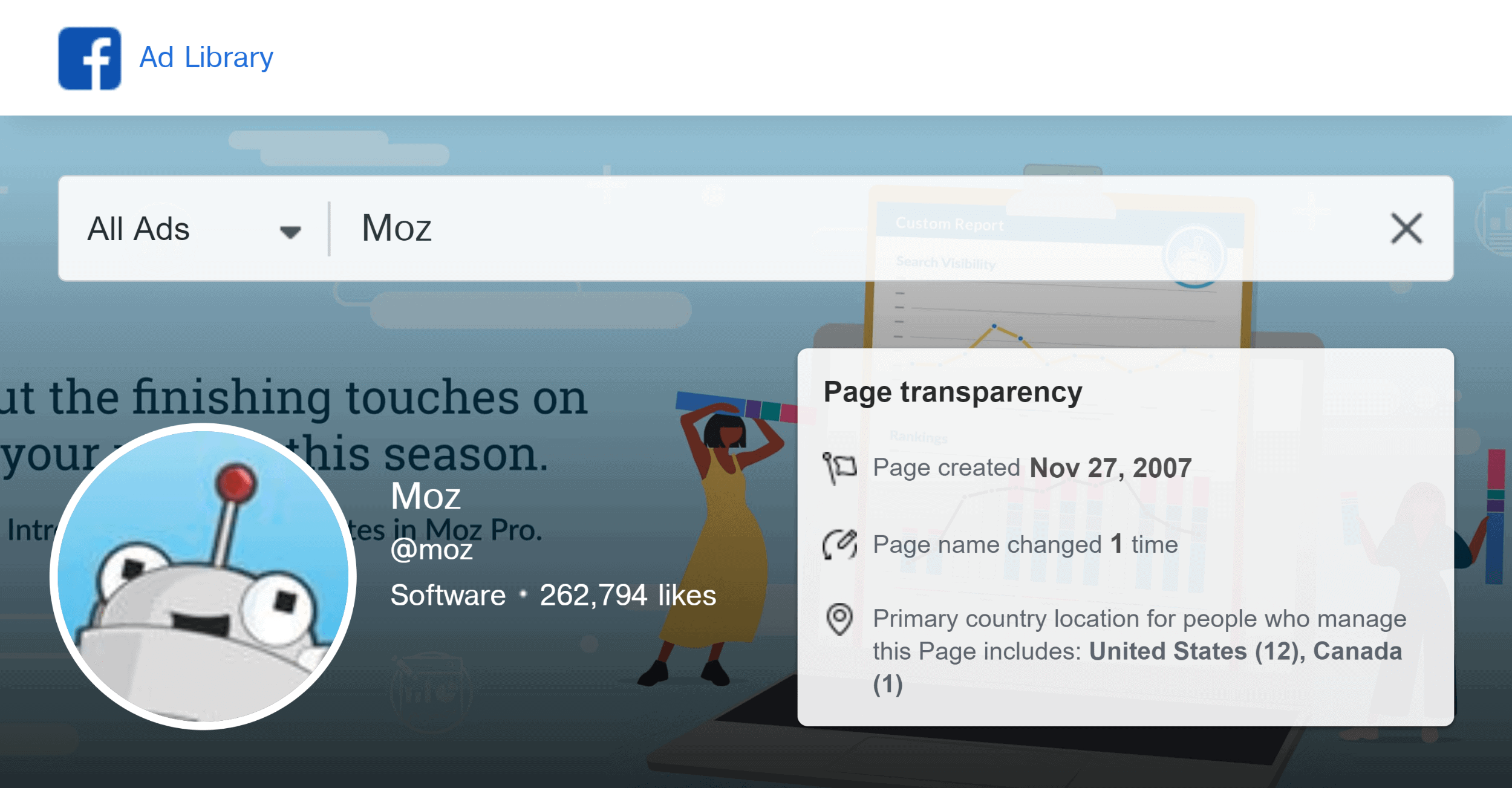 Facebook ad library – Search – Moz