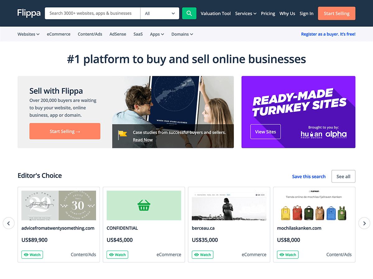Flippa website homepage