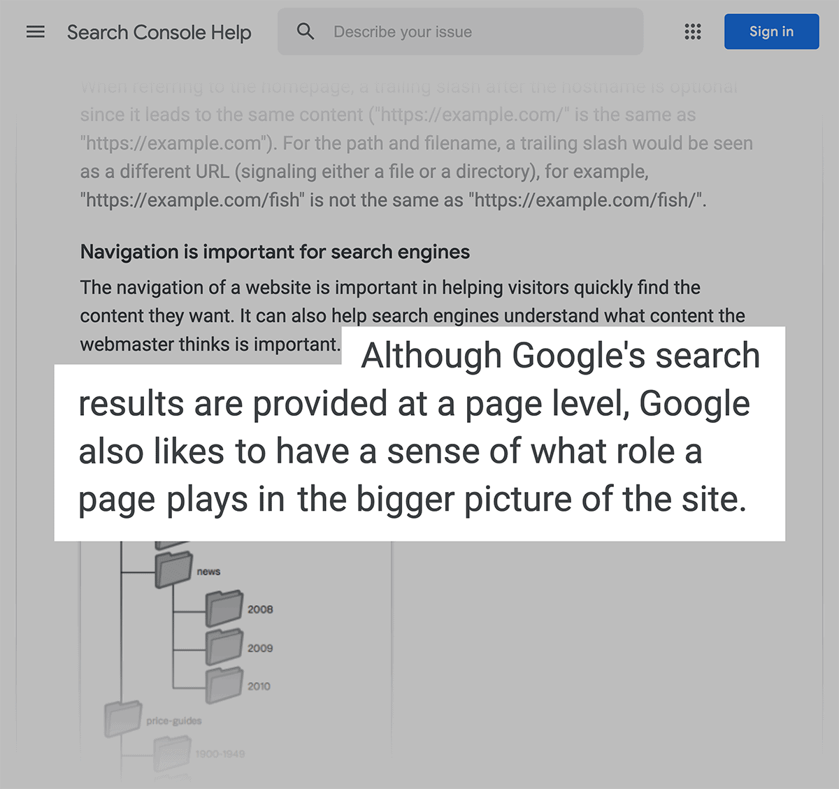 Give Google context about each page