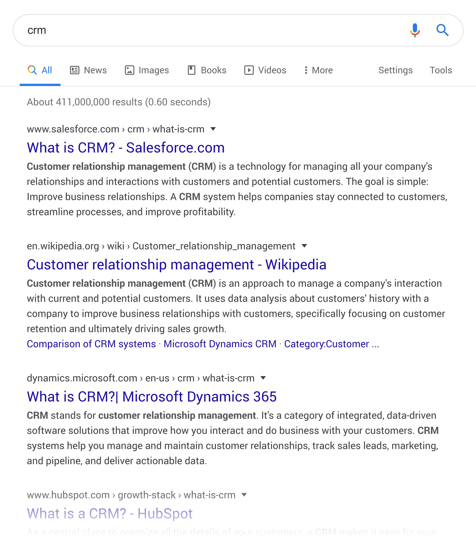 "Google SERP – ""CRM"""
