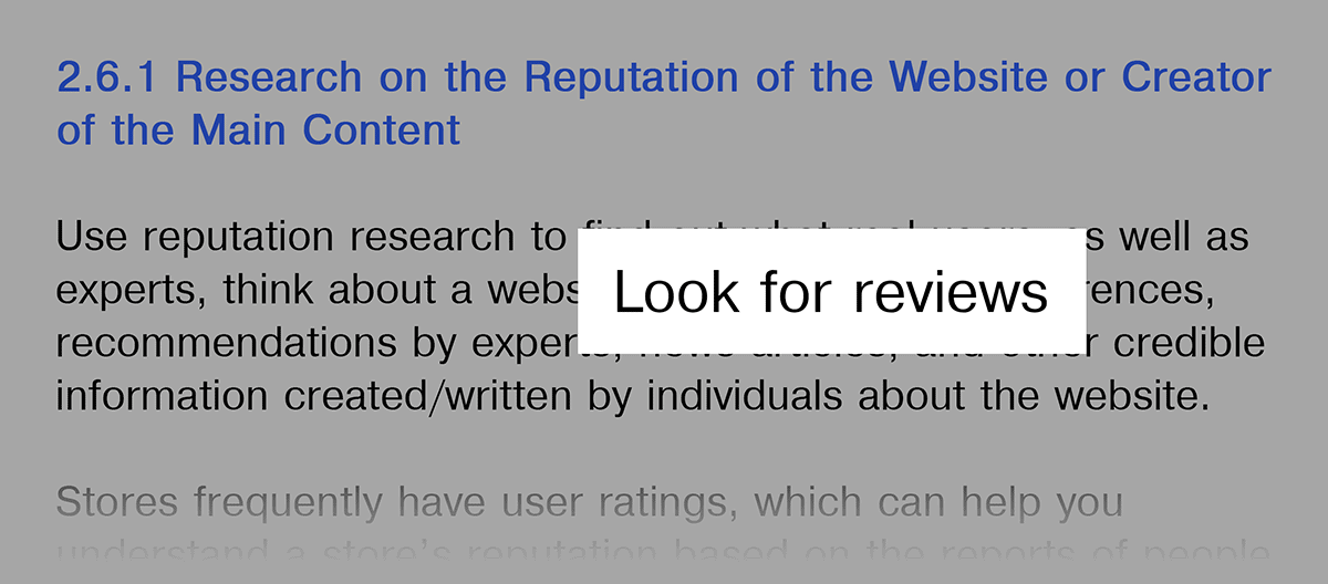 Google Guidelines – Emphasis on reviews