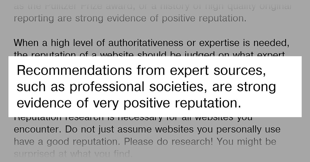 Google Guidelines on expert sources