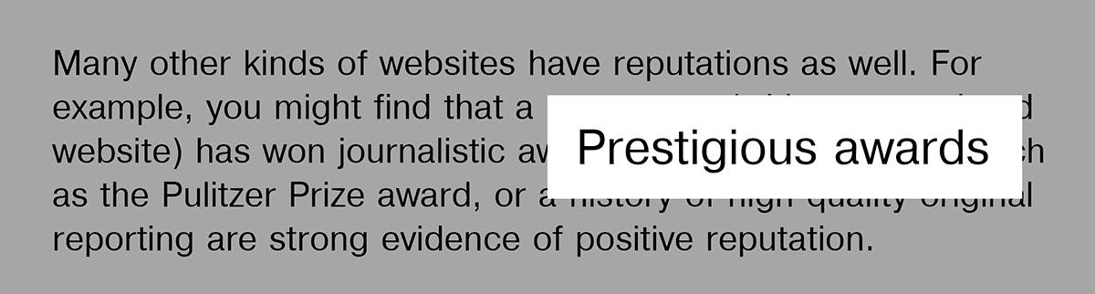 Google Guidelines – Prestigious awards