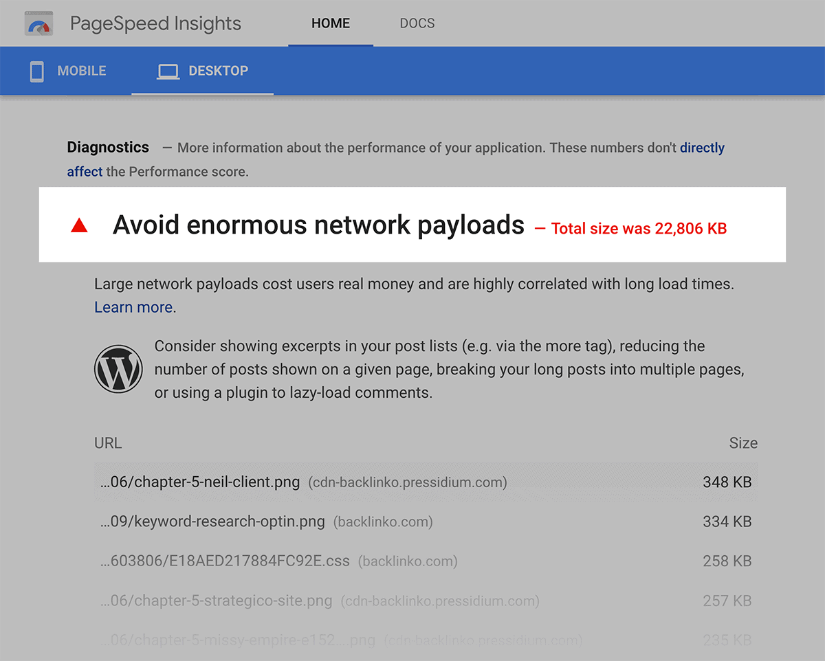 Google Page Speed – Avoid enormous payloads