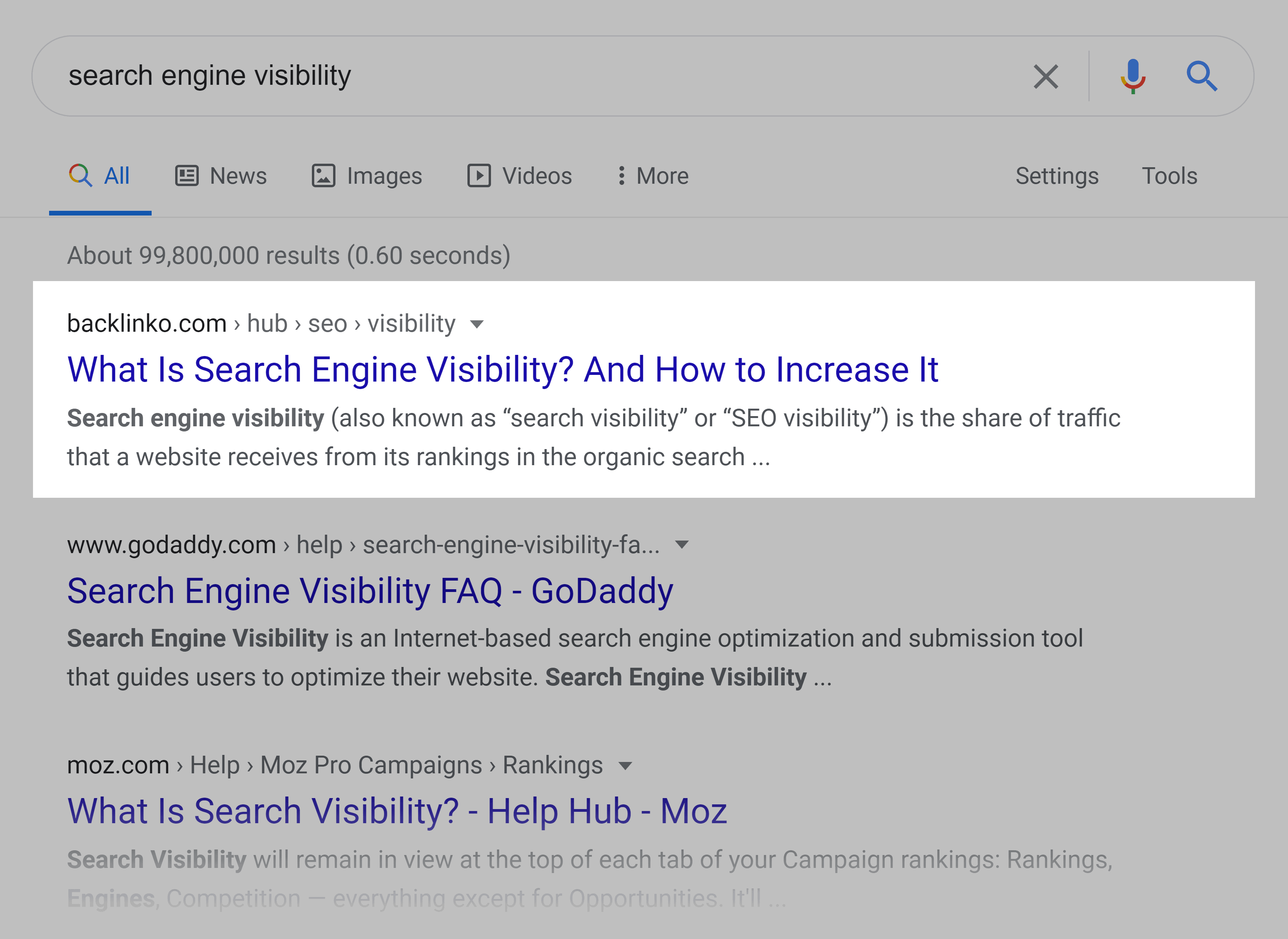 Google SERP – Search engine visibility