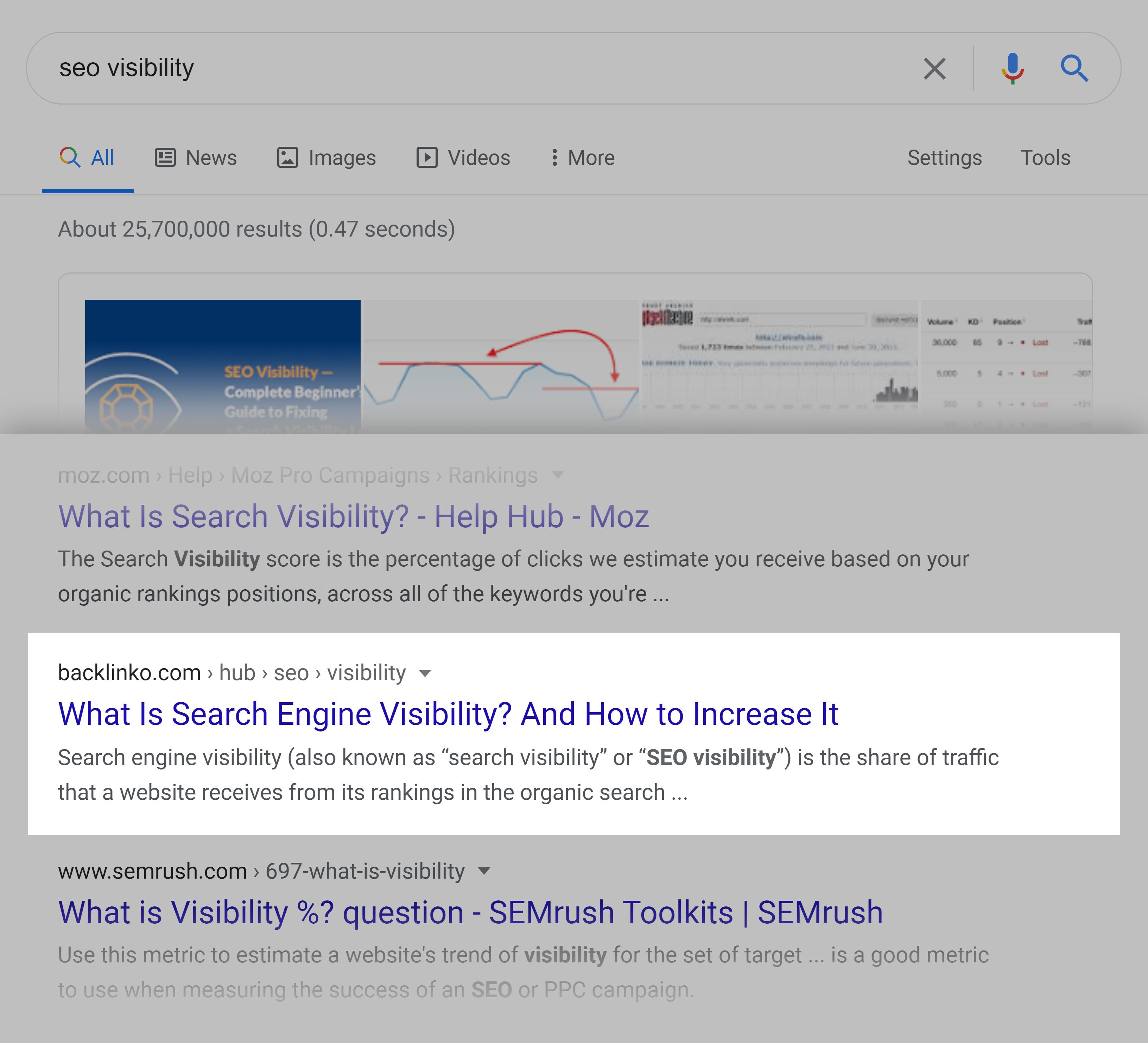 Google SERP – SEO visibility