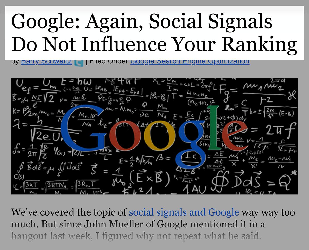 Google – Social signals ranking