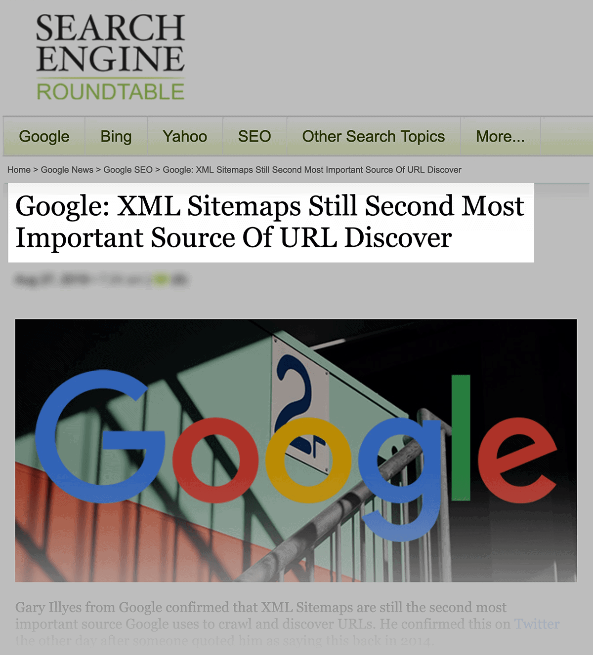 Google: XML Sitemaps are the second most important source