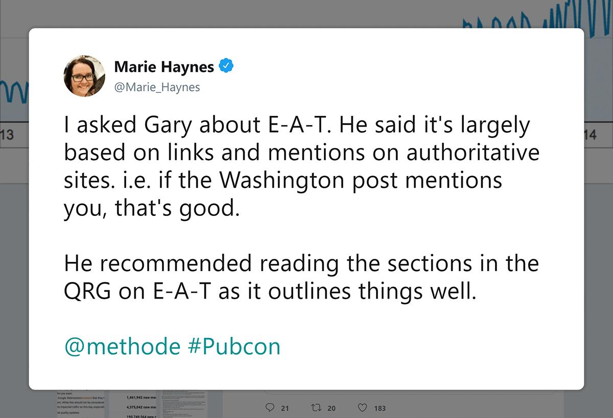Marie Haynes – Tweet about external mentions