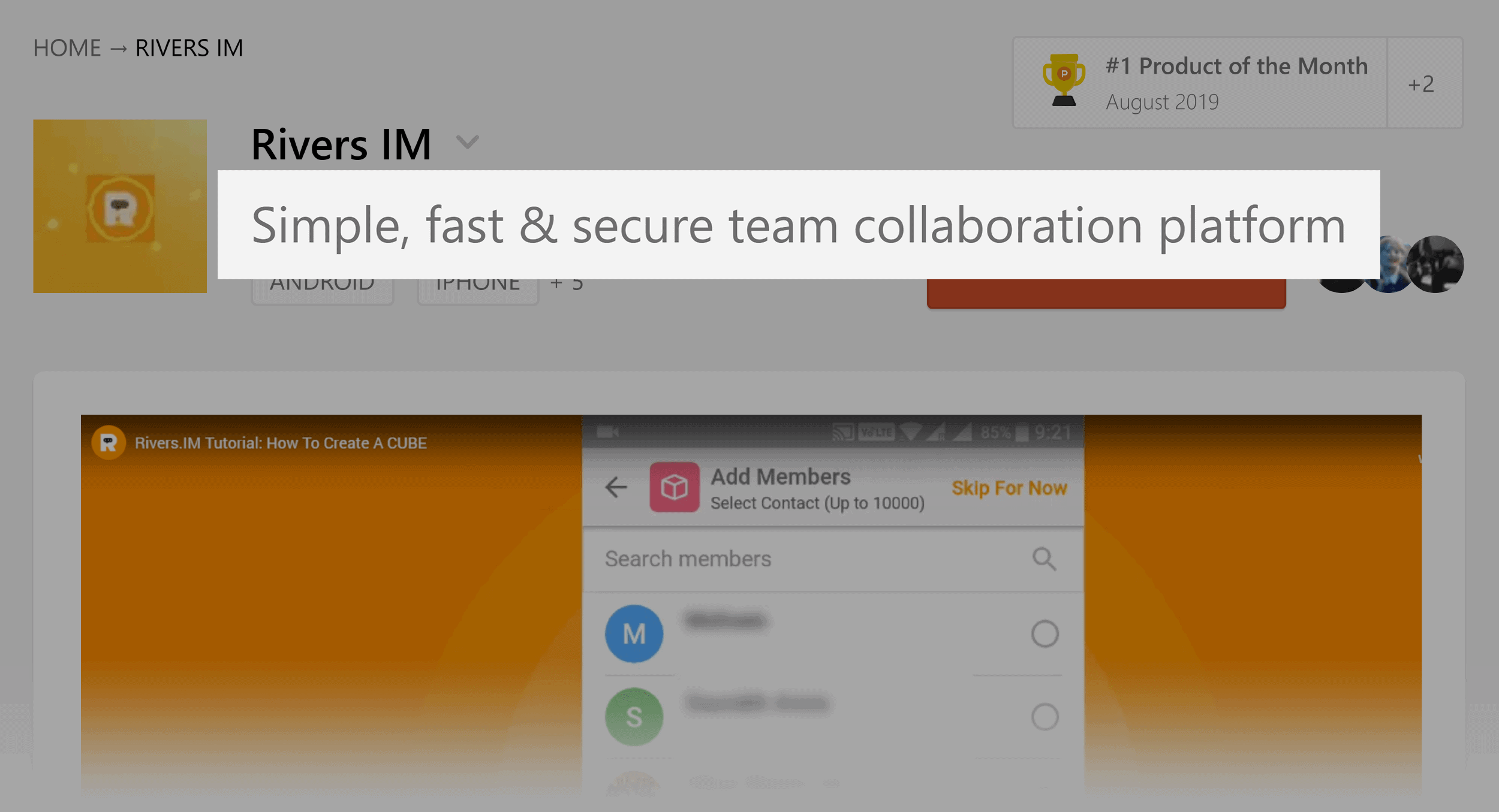 Product Hunt – Rivers IM collaboration tool