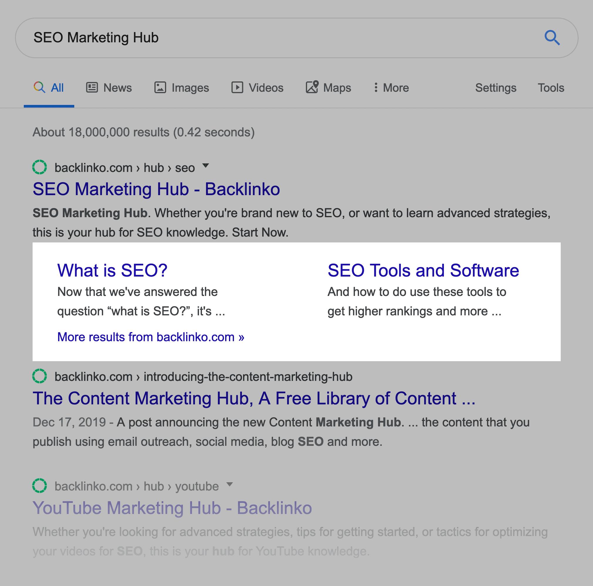 SEO Marketing Hub – Sitelinks