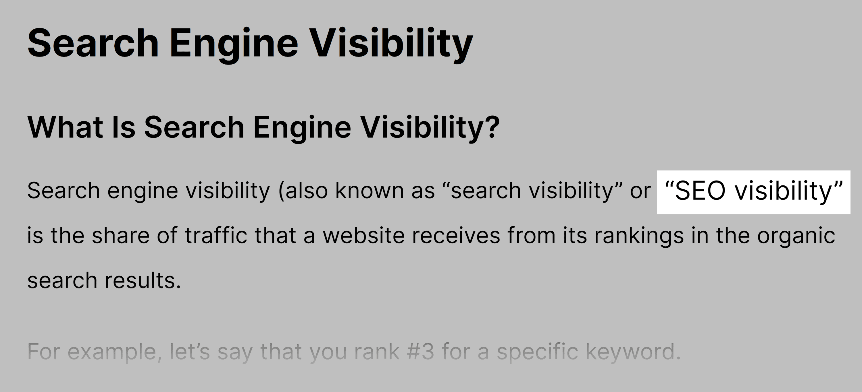 SEO visibility – Keyword in post