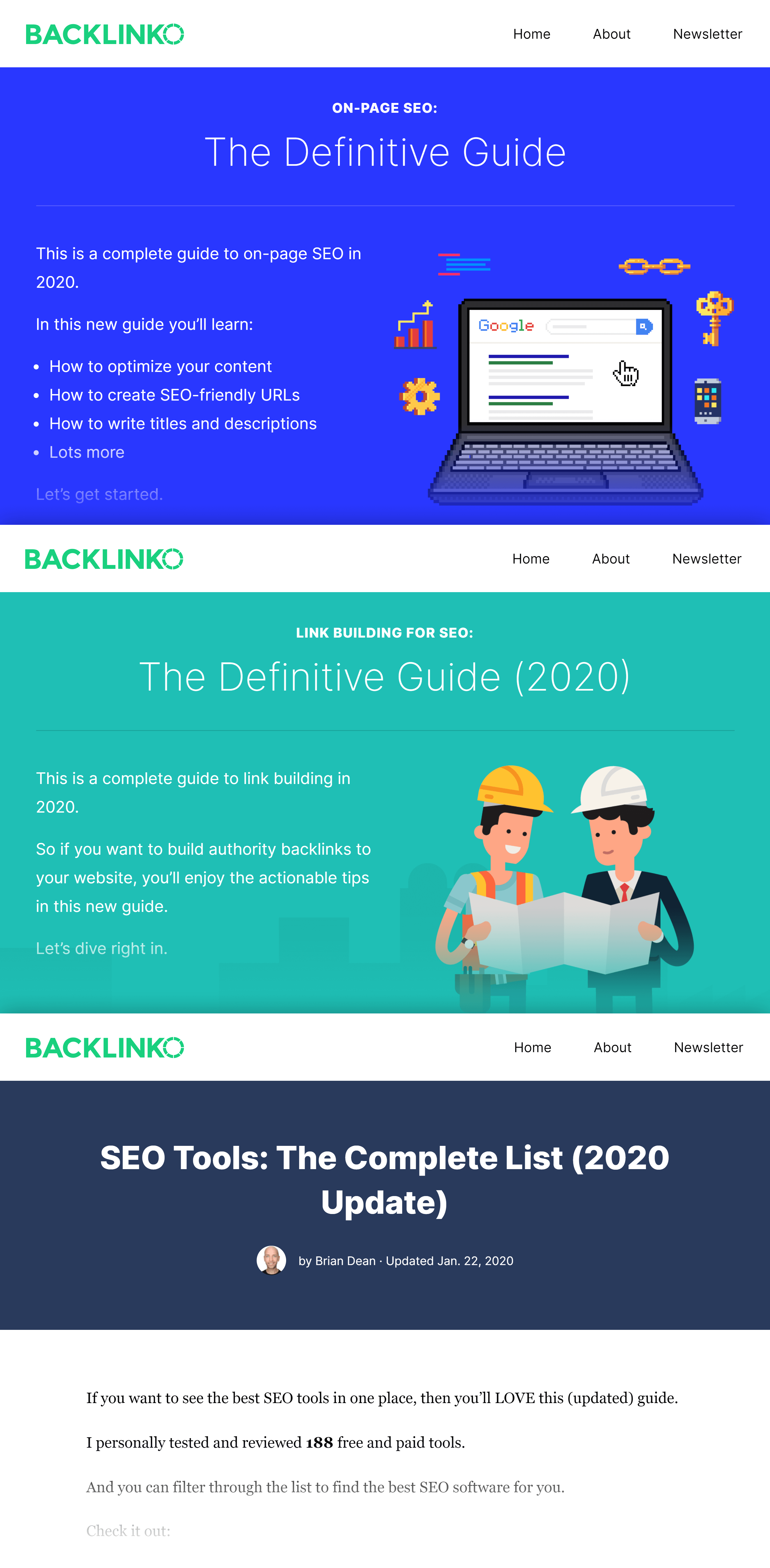 Shoulder keywords on Backlinko
