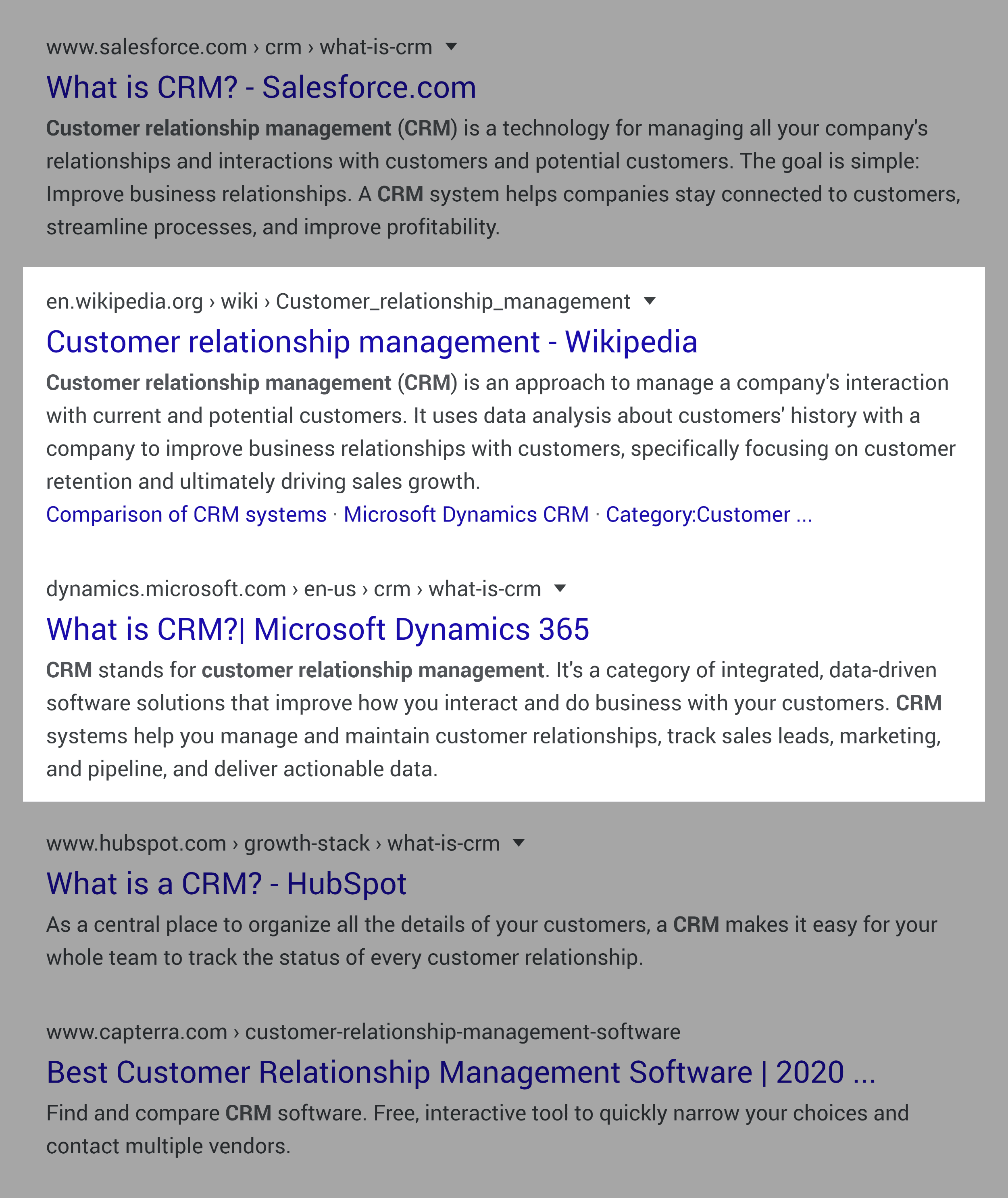 Uber authority sites in SERP