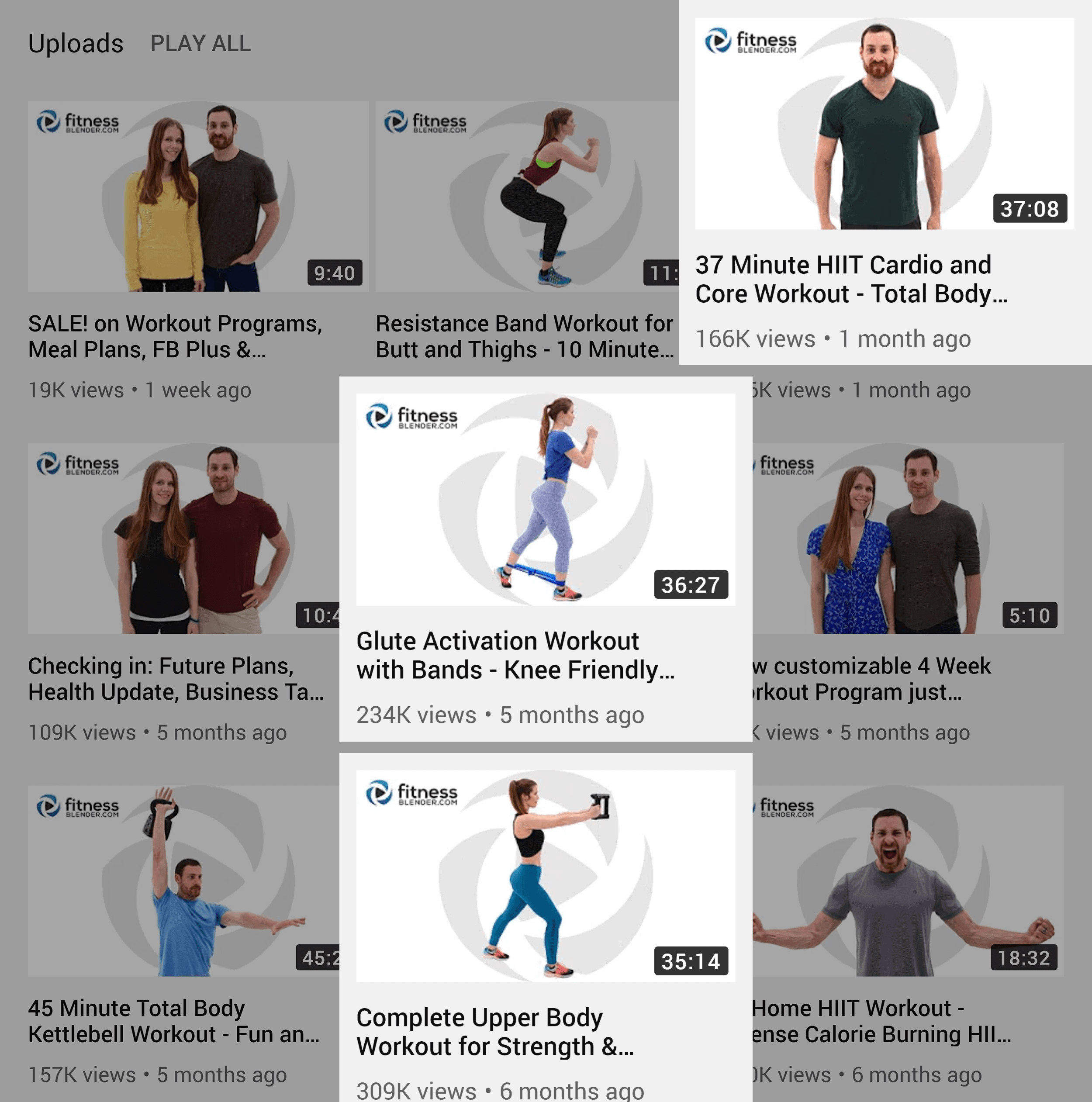 YouTube – FitnessBlender – Latest best performing videos