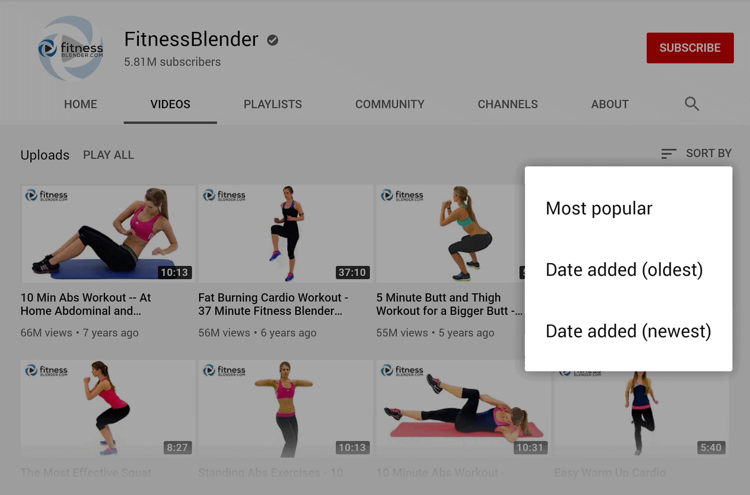 YouTube – FitnessBlender – Sort by most popular