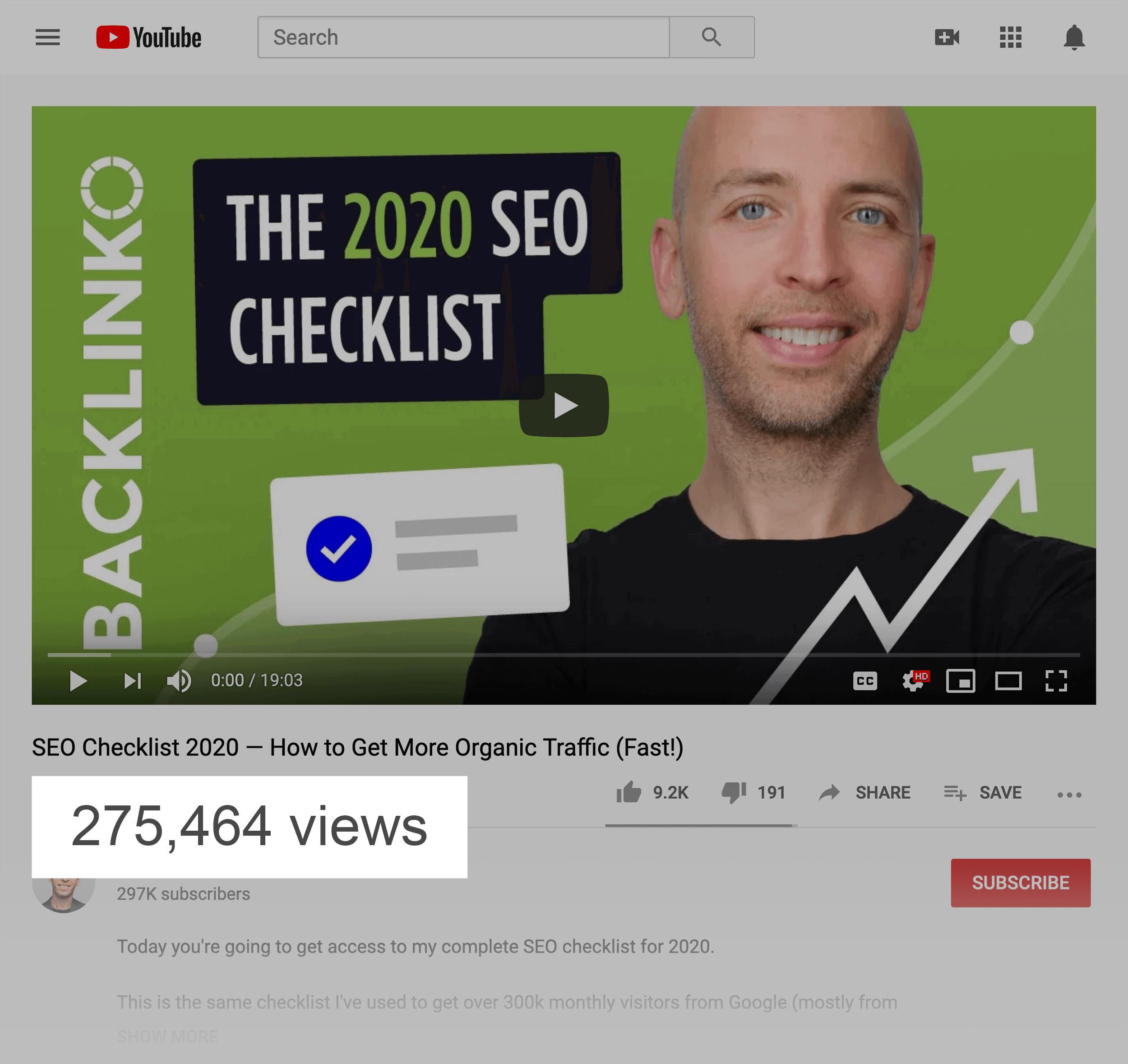 2020 SEO Checklist – Video Total Views