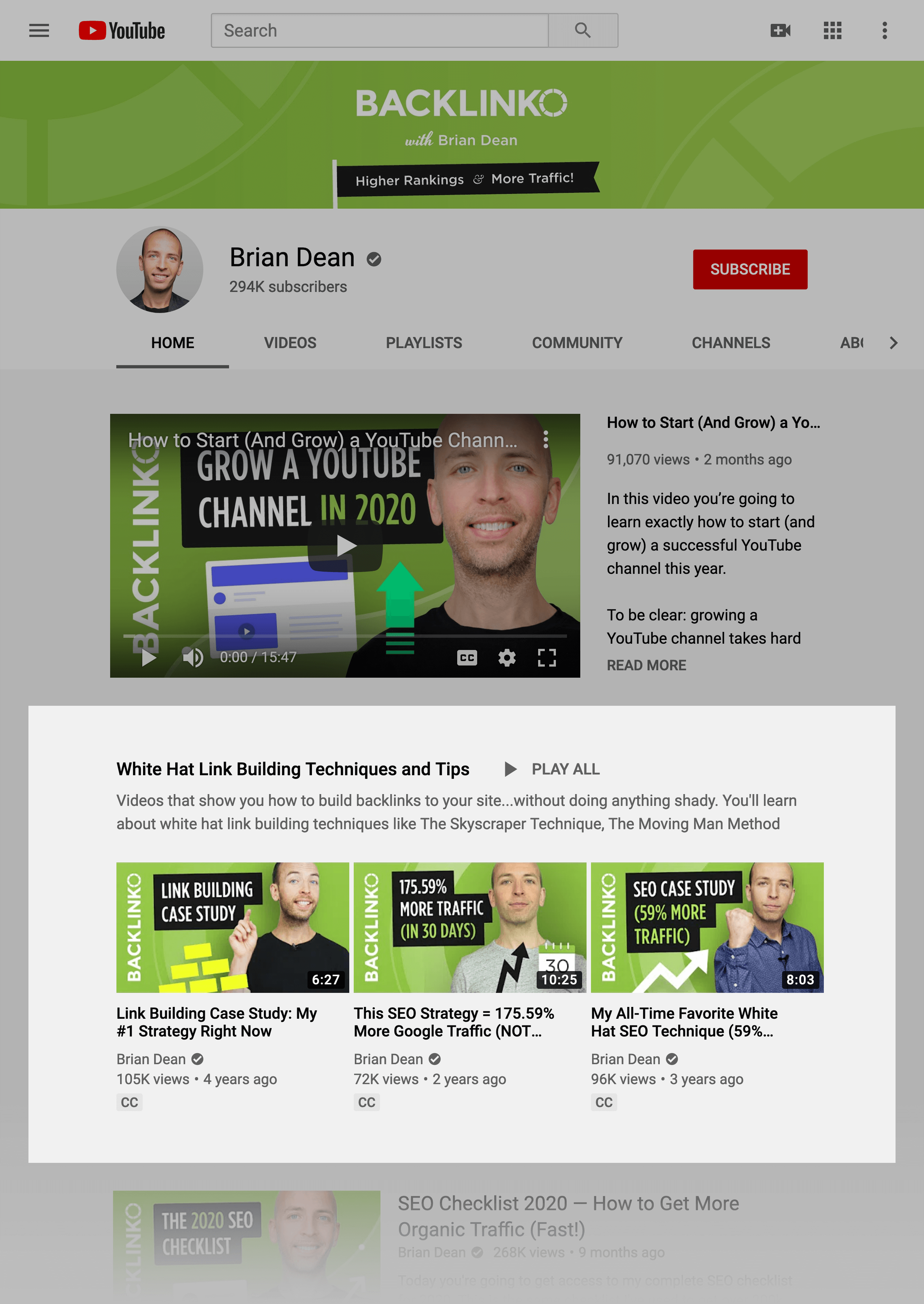 Backlinko playlists on channel page