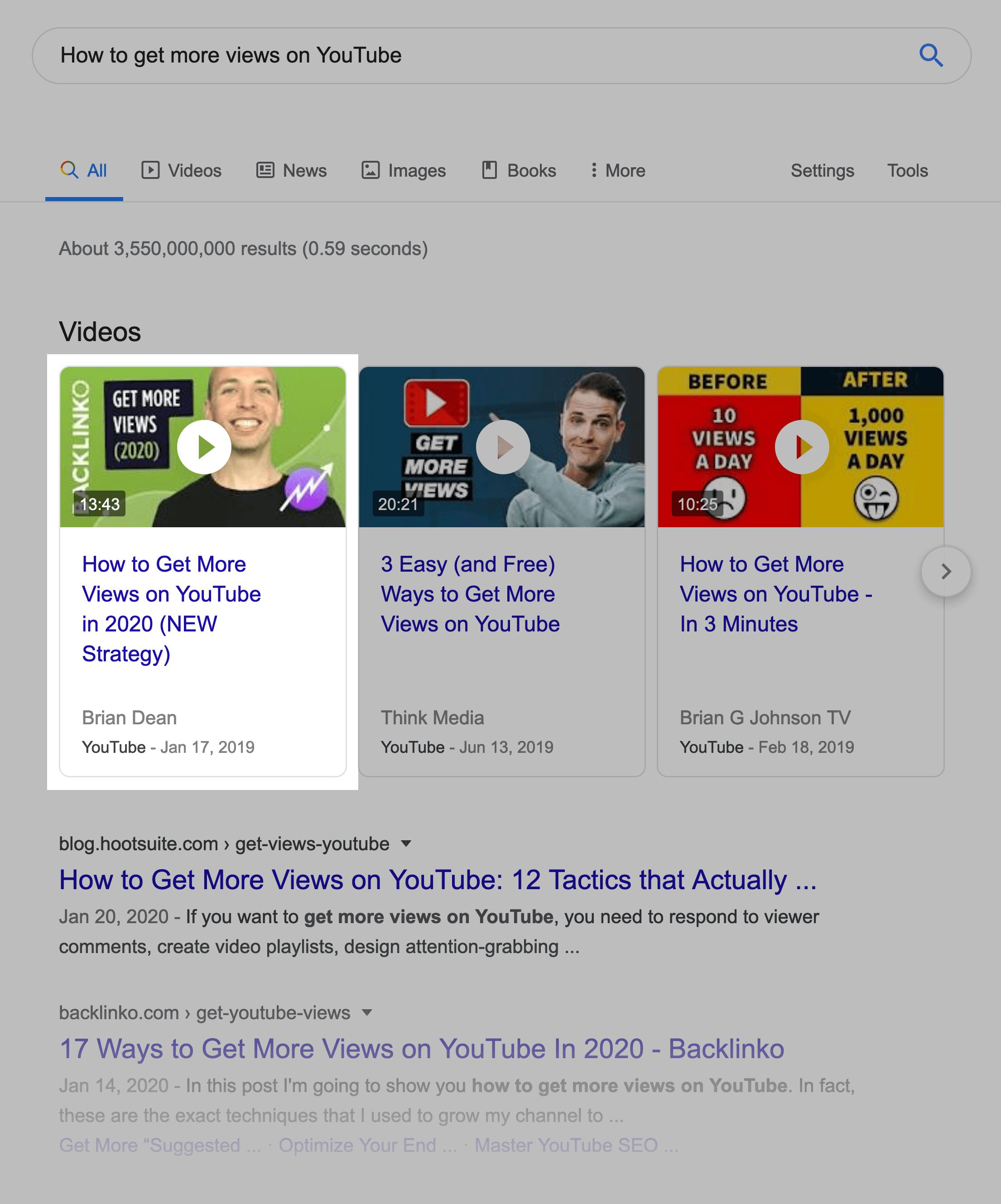 Backlinko video appears in Top 3 videos on google