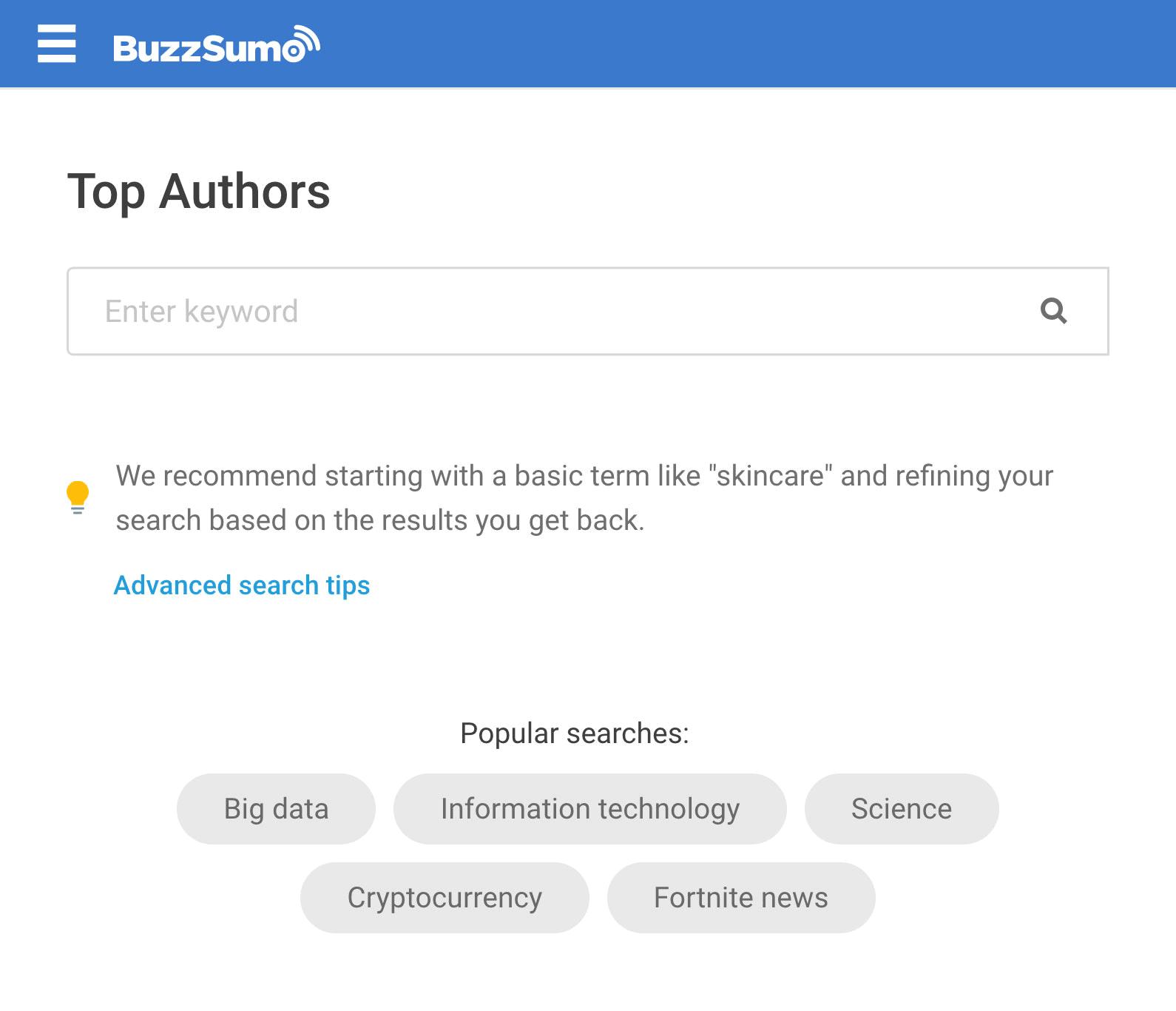 BuzzSumo – Top Authors Tool