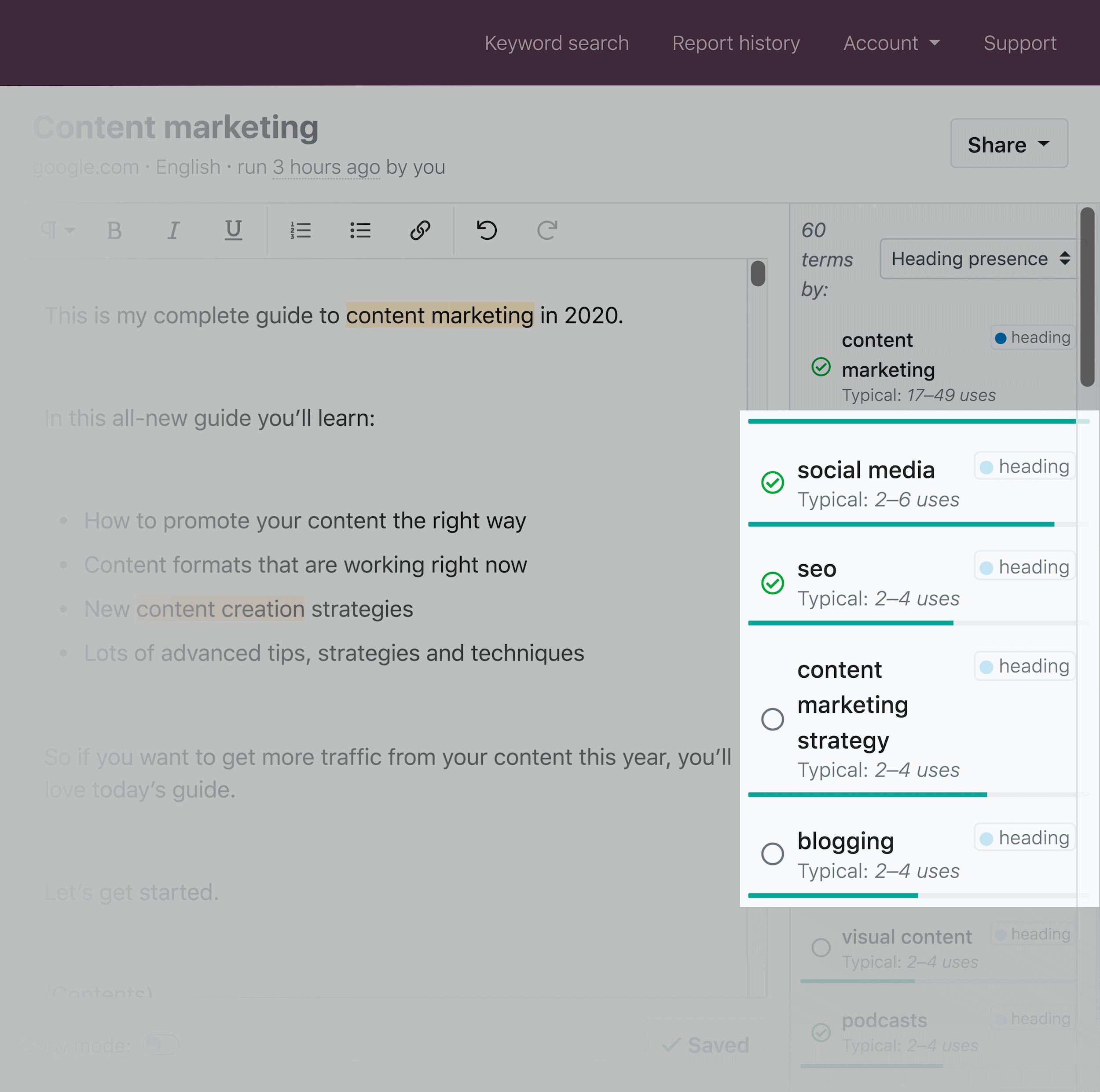 Clearscope – Backlinko – Optimize content – Grade list