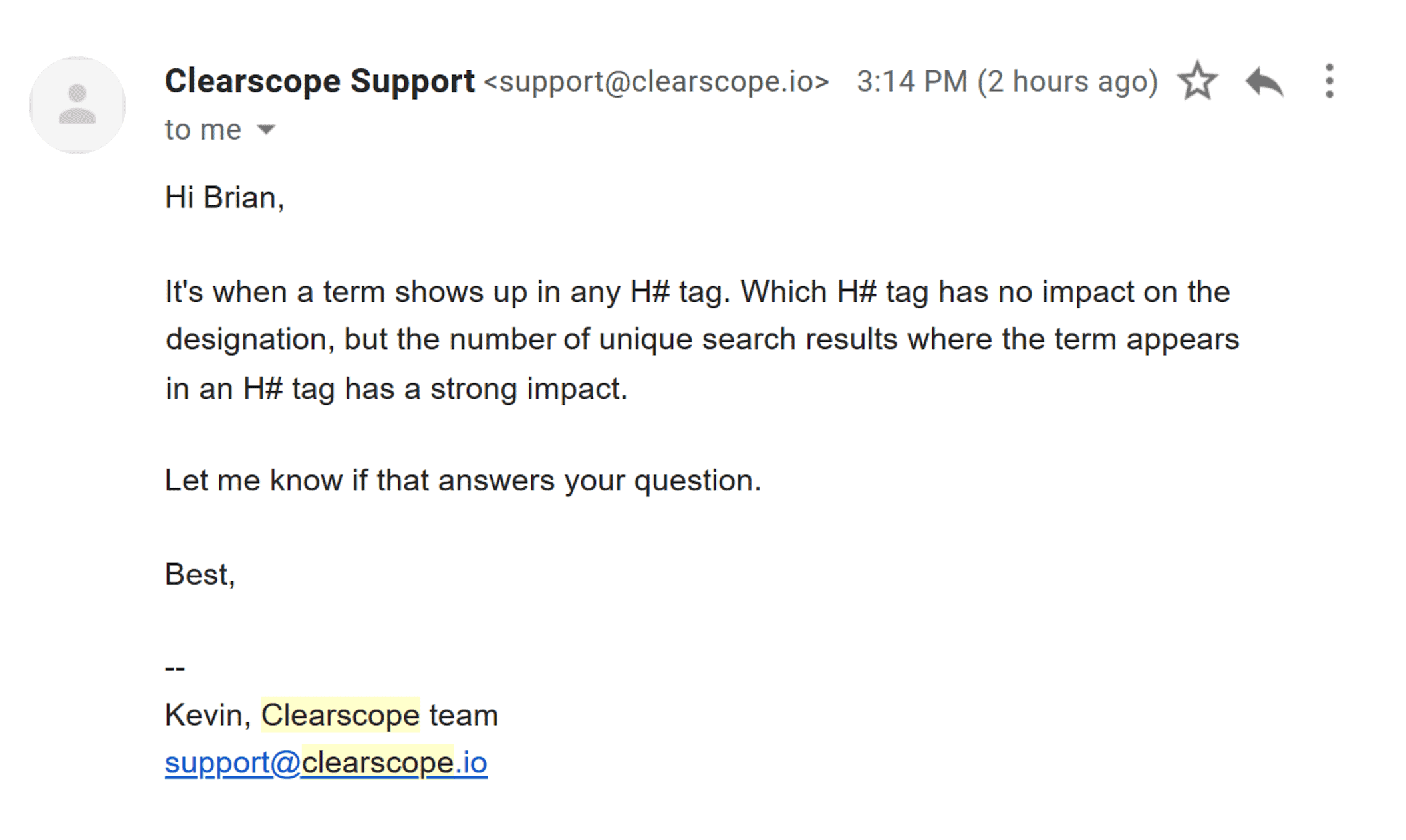 Clearscope – Support – Reply