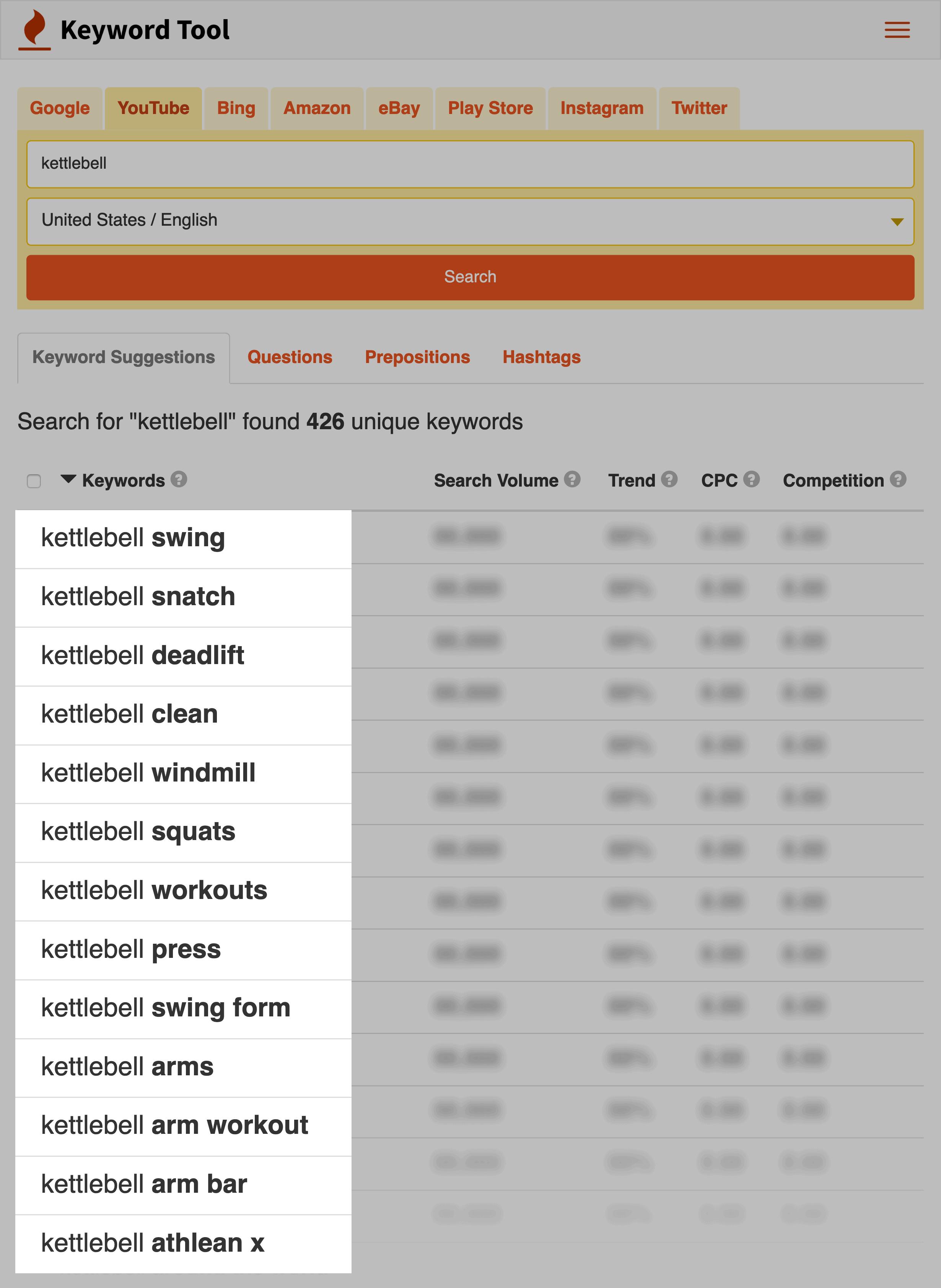 Keyword Tool – Kettlebell results