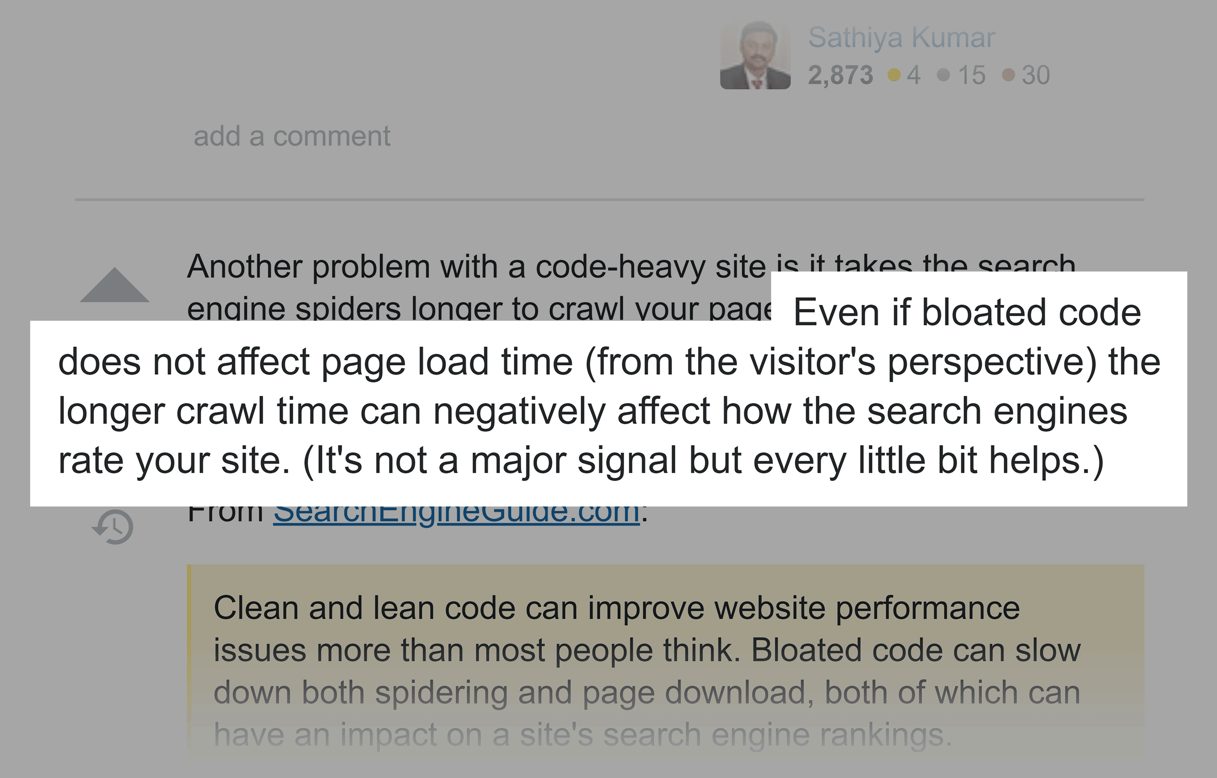 SEO community on bloated HTML