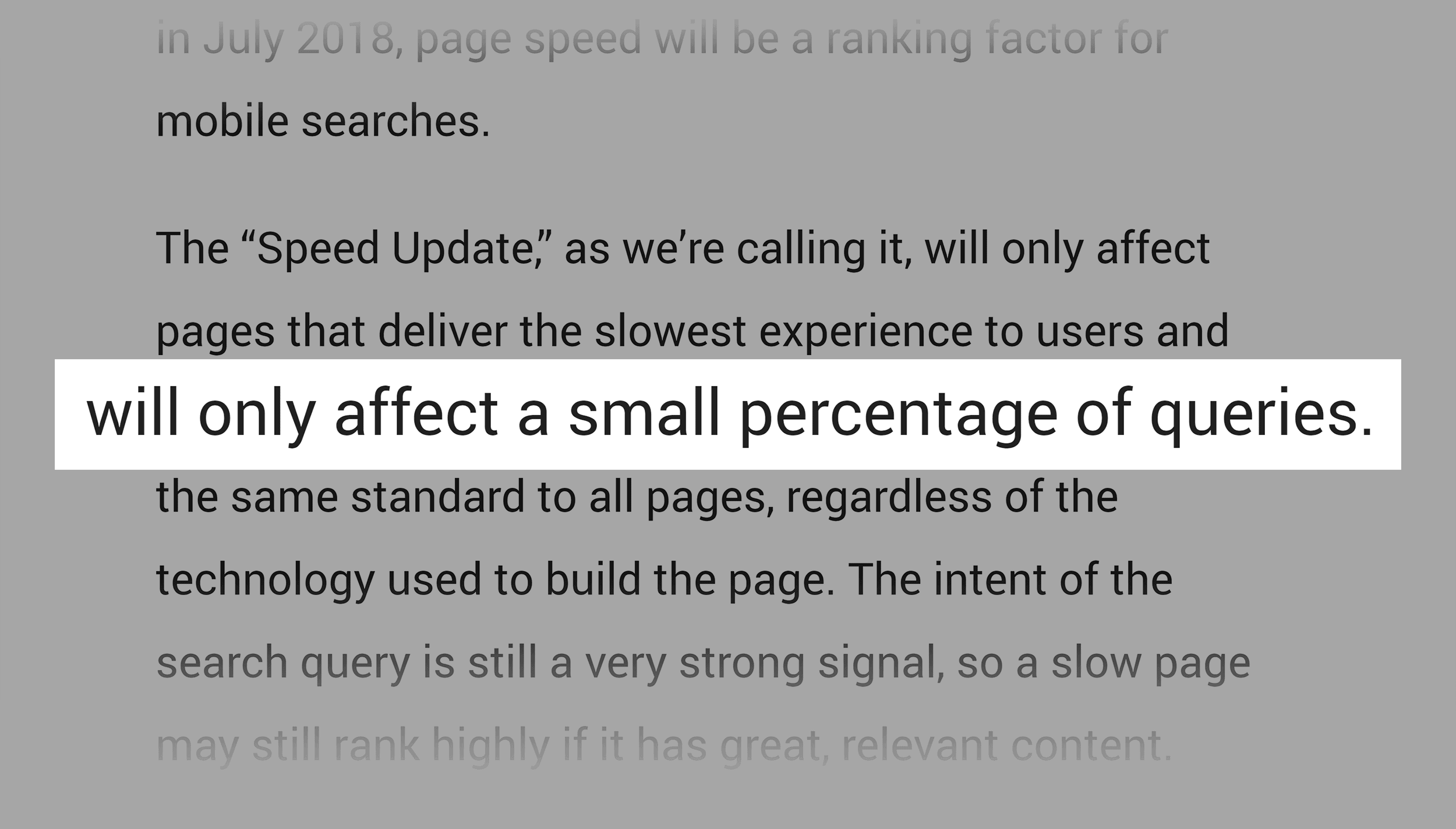 Speed update only affecting small percentage of queries